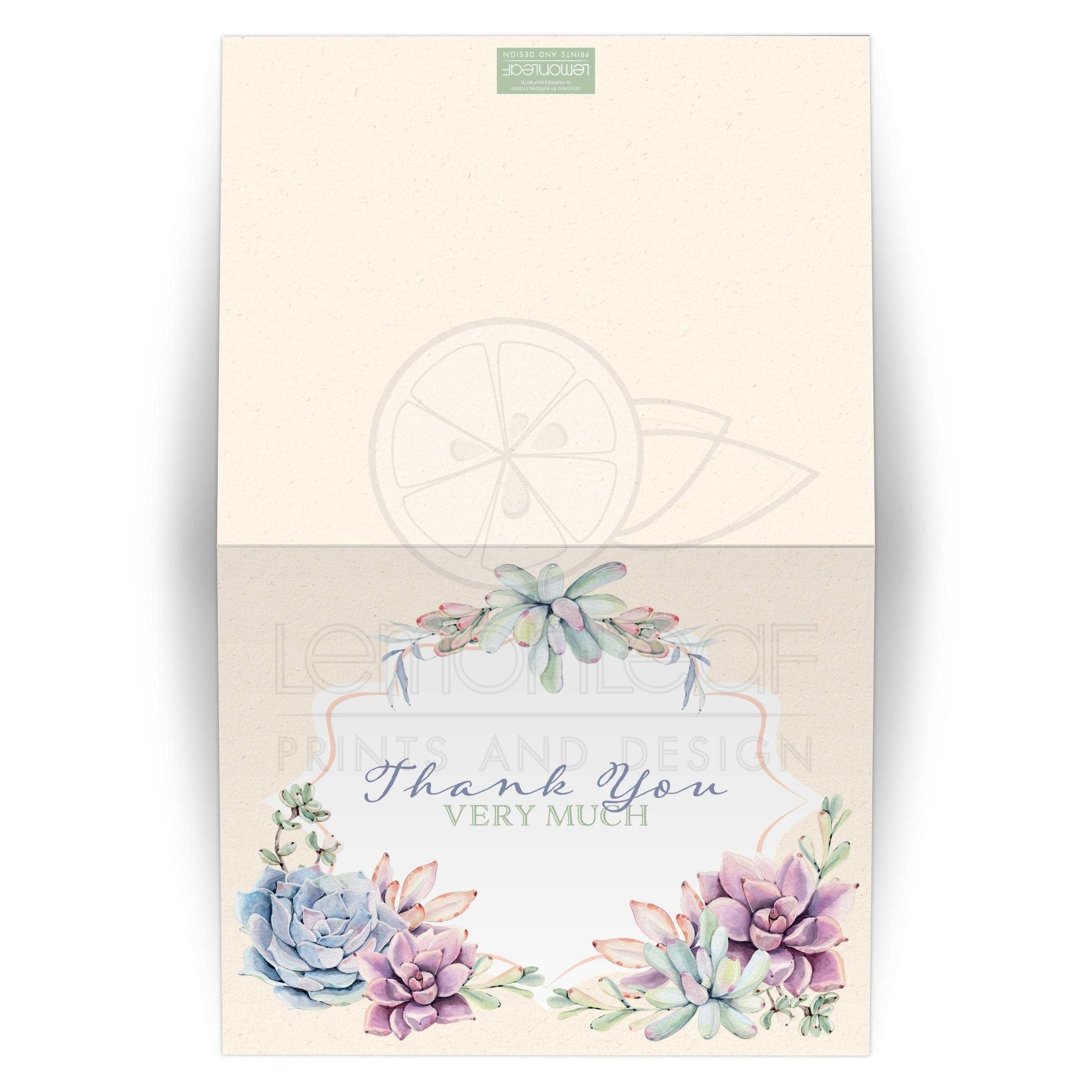 watercolor succulents garden thank you card blank pastel peach
