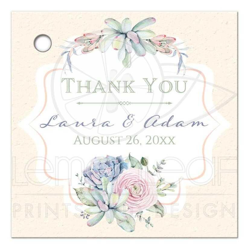 Perfect Wedding Favor Thank You Tag | Pastel Succulent Garden RF43
