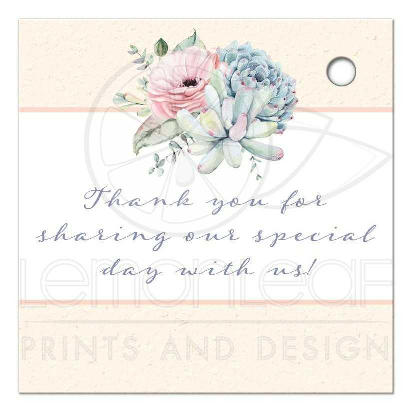 Wedding Favor Thank You Tag Pastel Succulent Garden