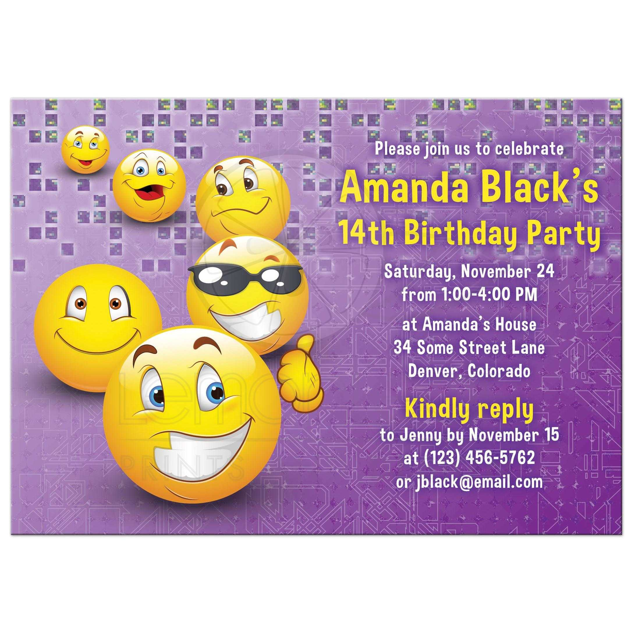 Purple And Yellow Social Media Emoji Birthday Invitation Front