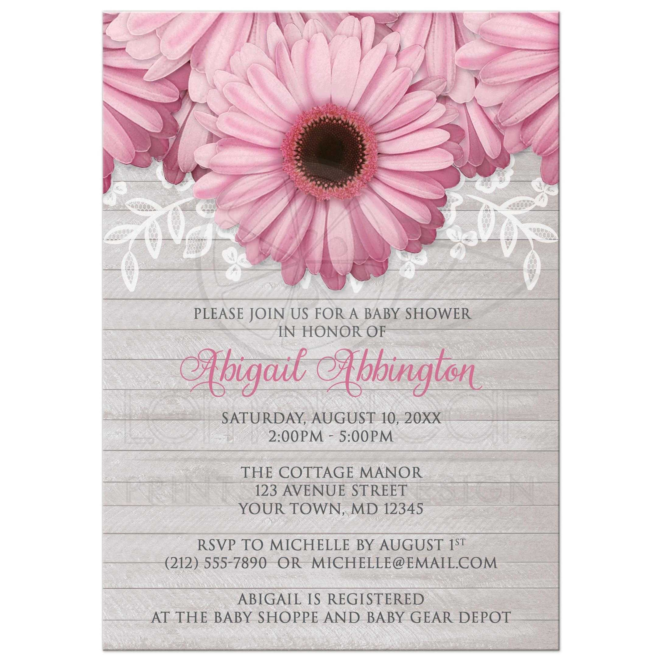 Shower Invitations - Rustic Pink Daisy Wood Gray