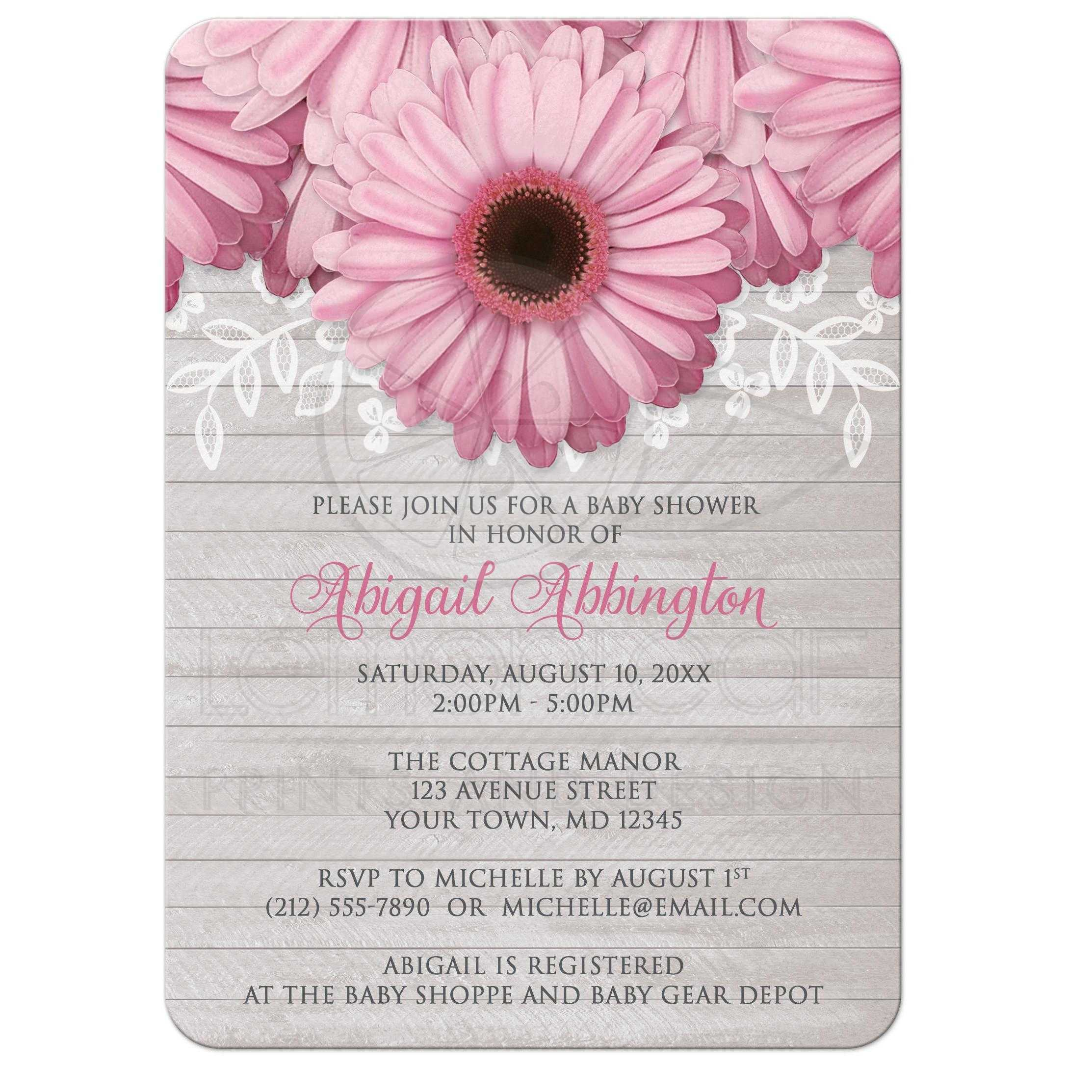 Baby Shower Invitations Rustic Pink Daisy Wood Gray