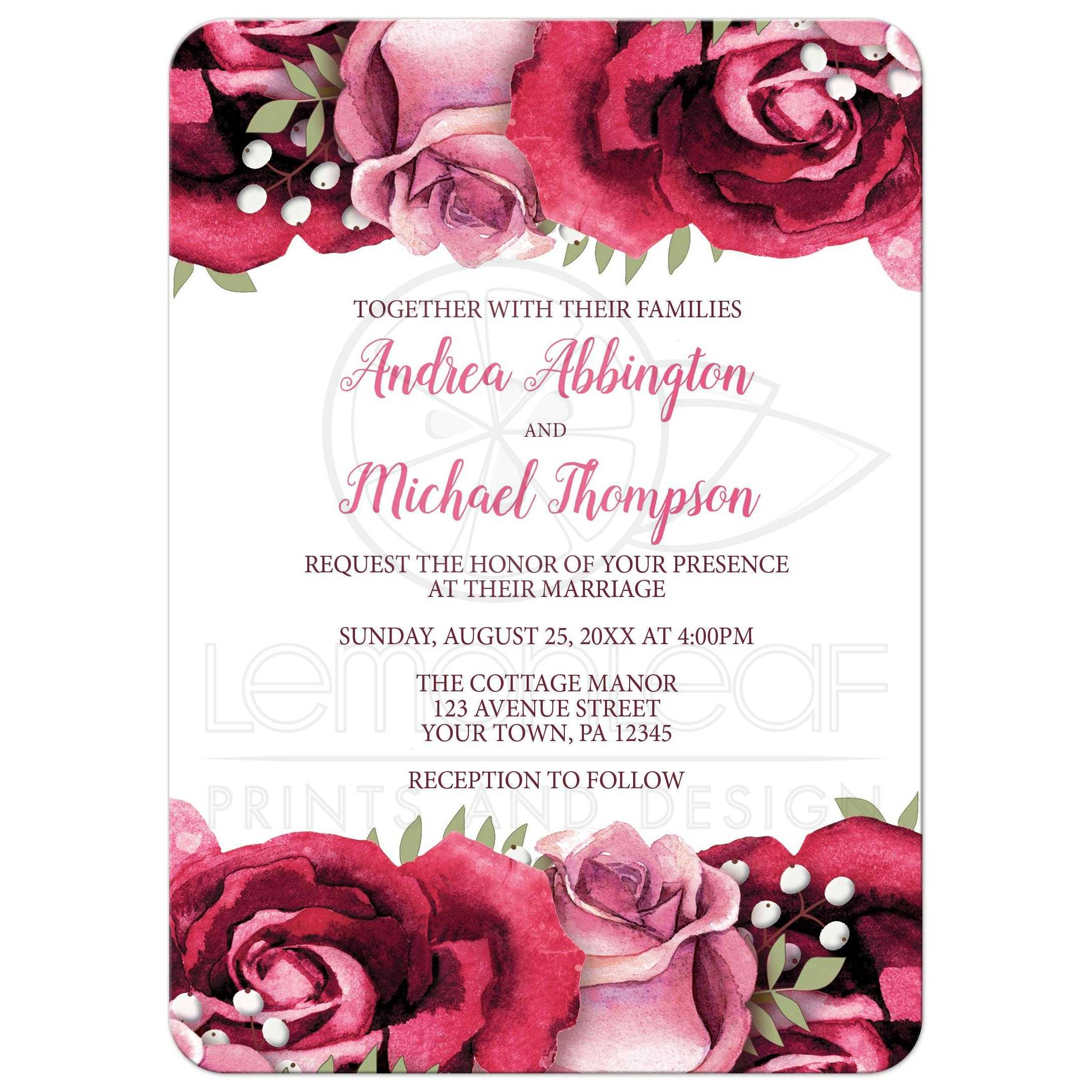 Invitations Burgundy Pink Rose White Rustic