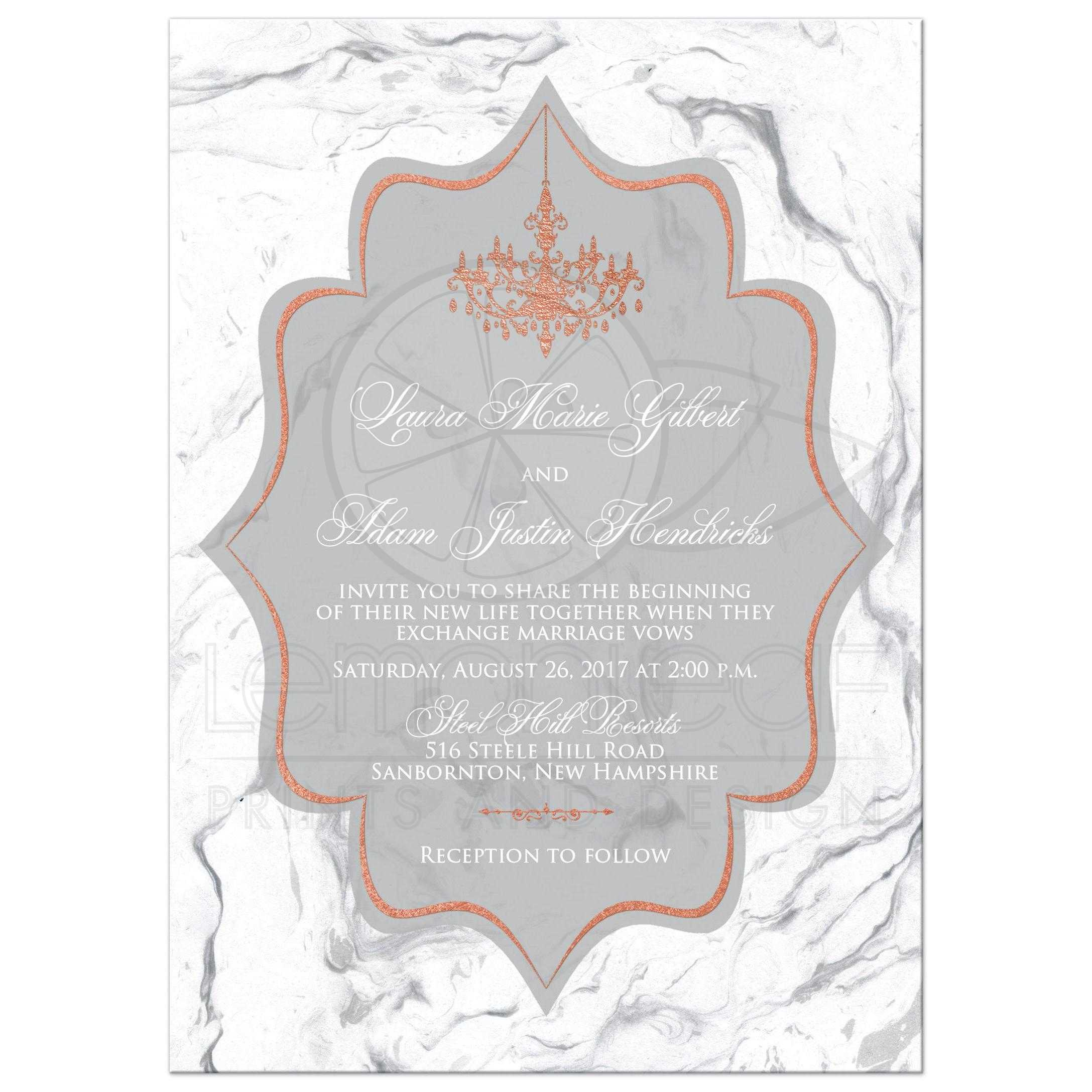 Foil Wedding Invitations.Faux Copper Foil Wedding Invitation Gray White Faux Marble Formal Chandelier