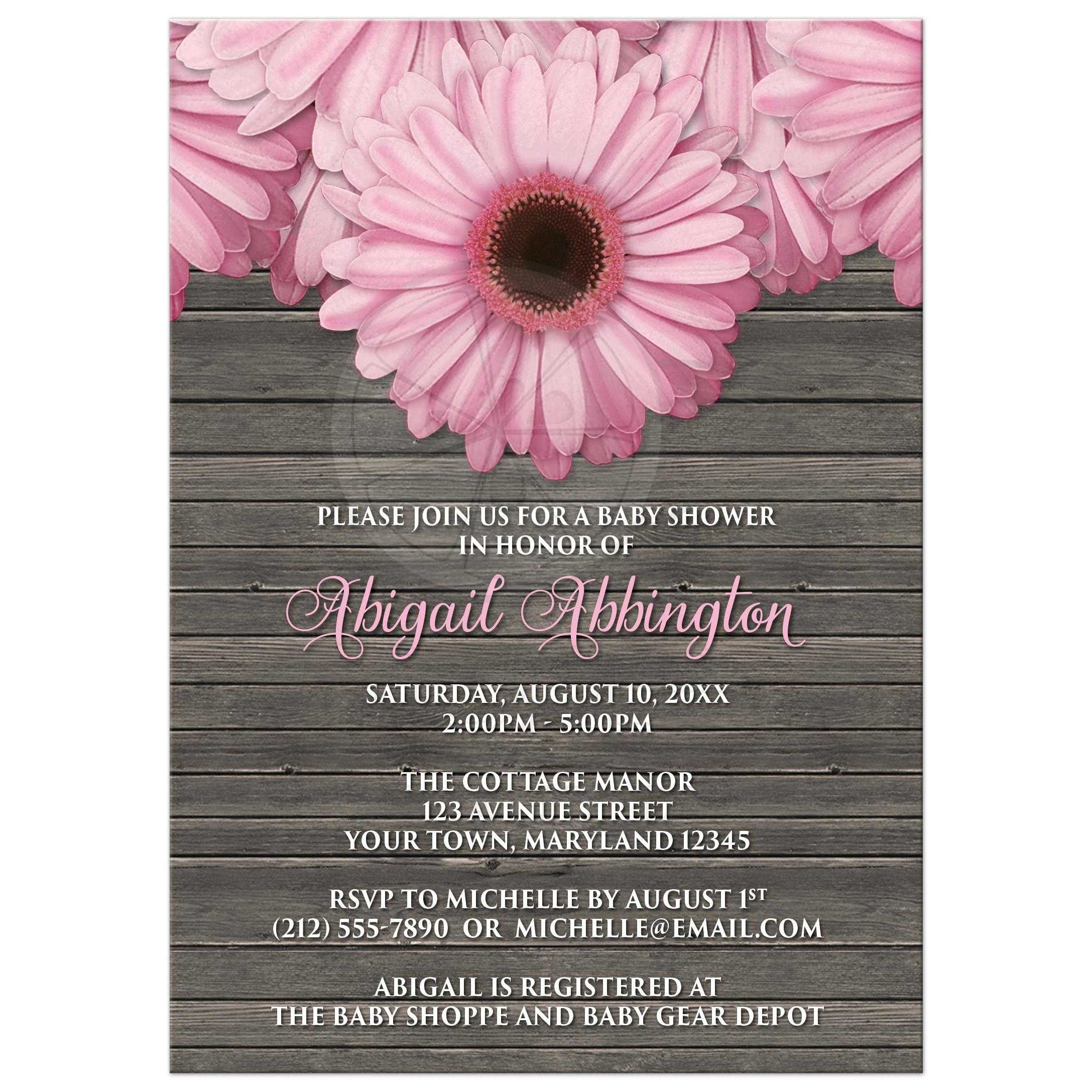 Baby Shower Invitations Rustic Pink Daisy Brown Wood