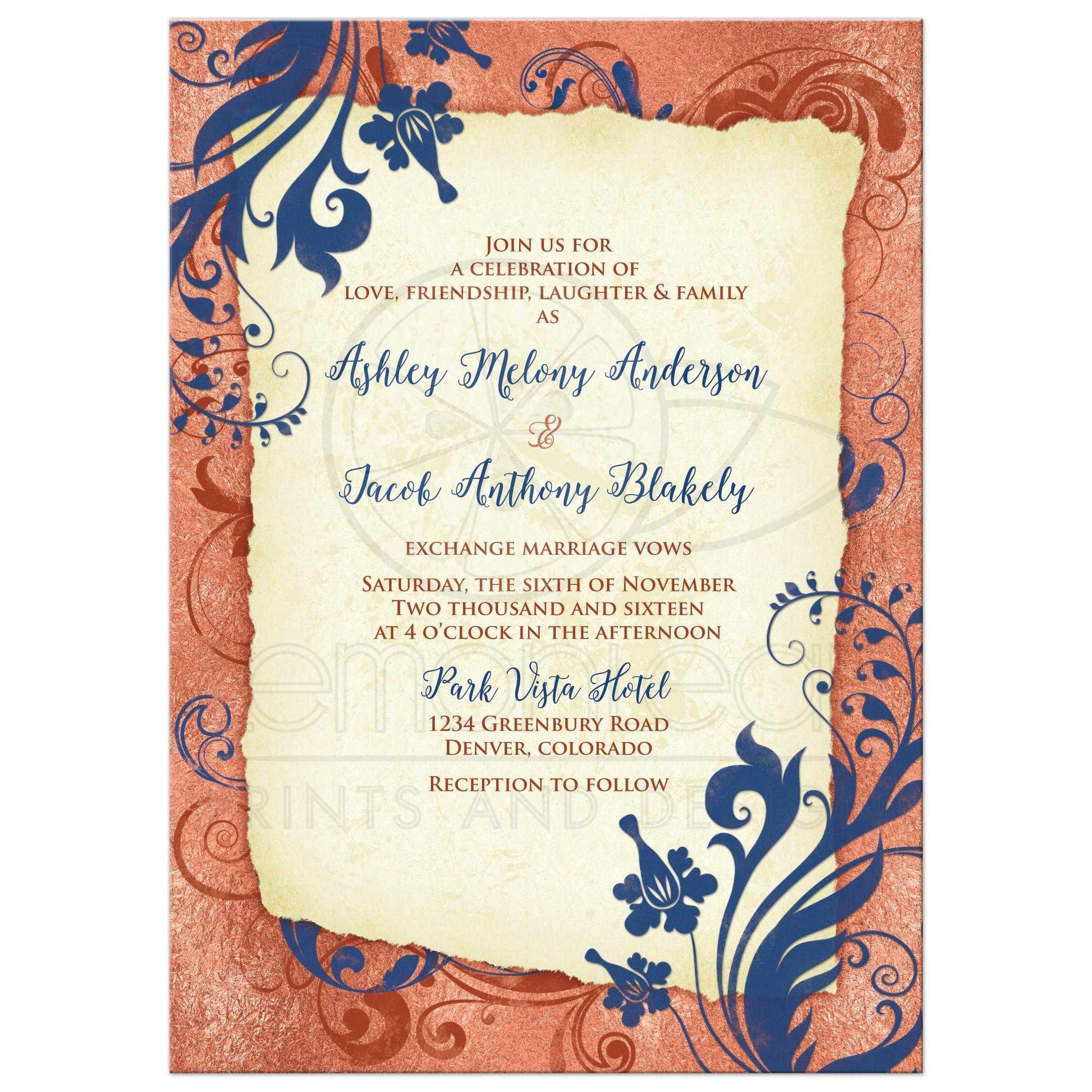 Copper Navy Wedding Invitation | Vintage Floral