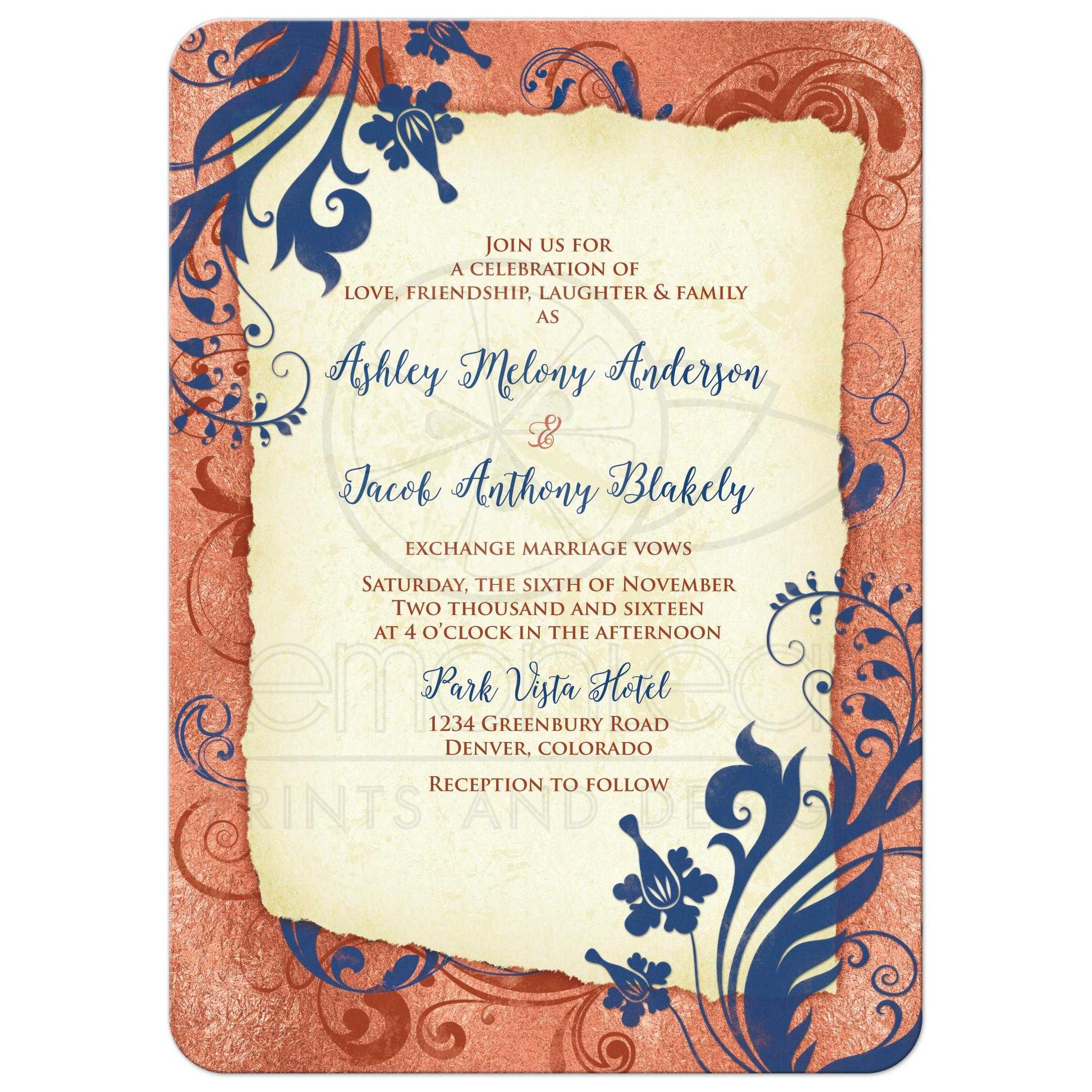 Navy Blue And Ivory Wedding Invitations: Copper Navy Wedding Invitation