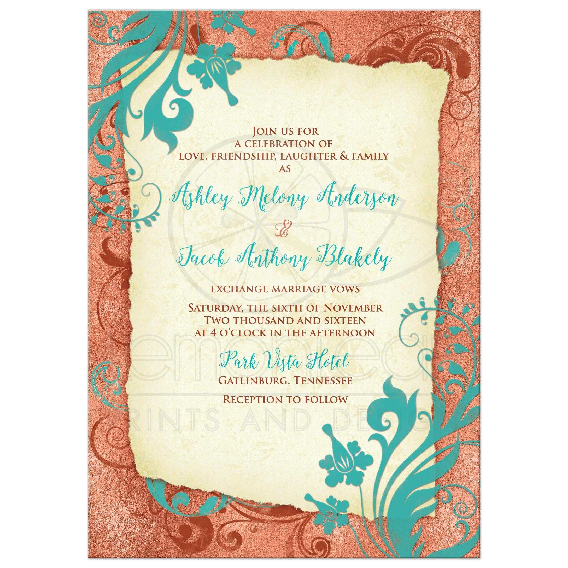 Copper Turquoise And Ivory Vintage Fl Wedding Invitation Front