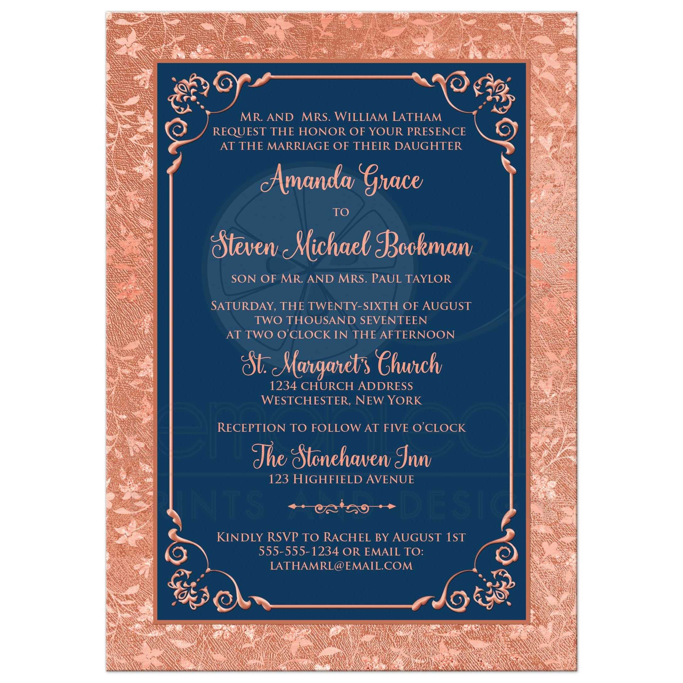 This beautiful navy blue and simulated copper foil wedding invitation has a floral and vine grunge look pattern on the wide outer border of faux copper. Your cu