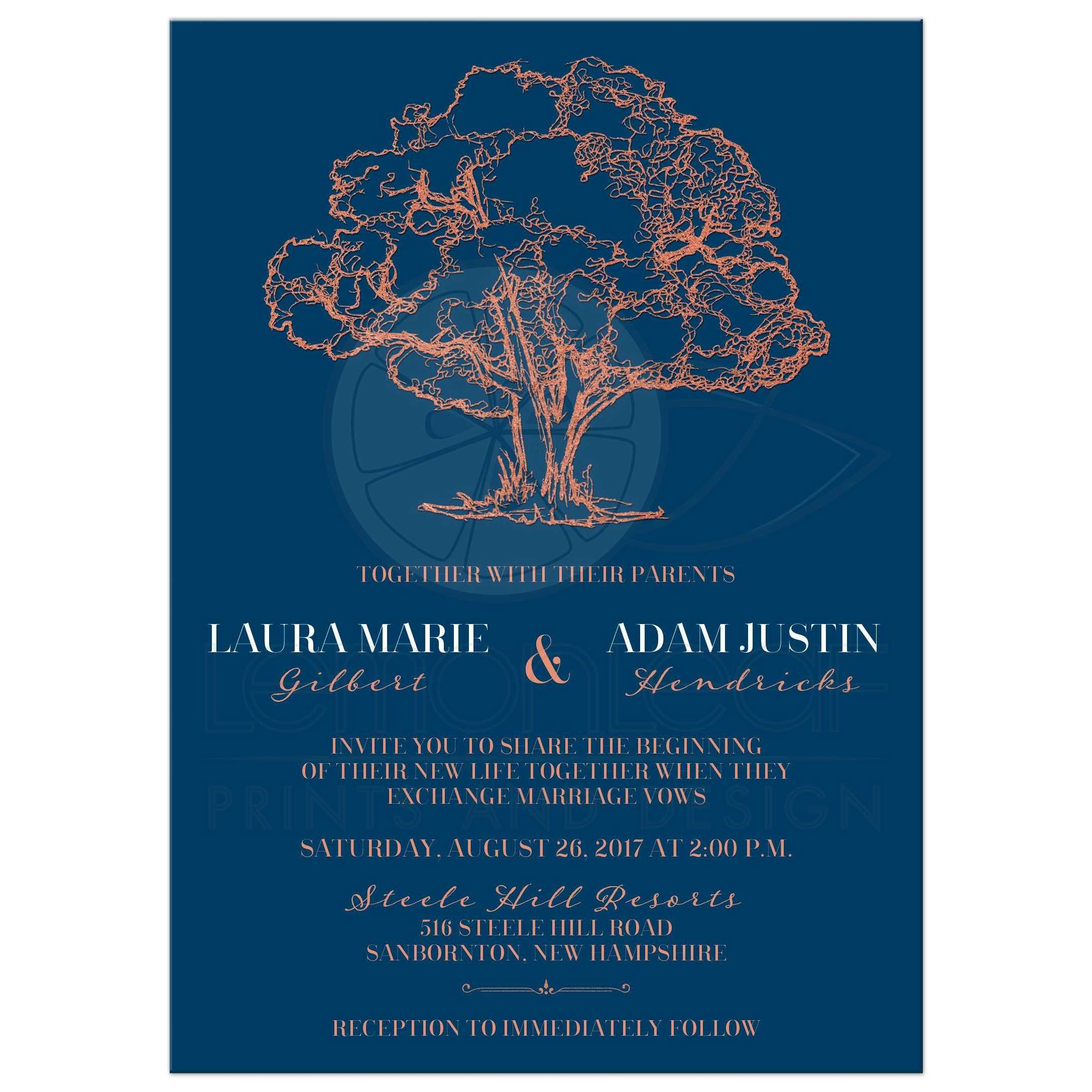 Modern Tree Illustration on Navy Blue Wedding Invitation | Faux ...