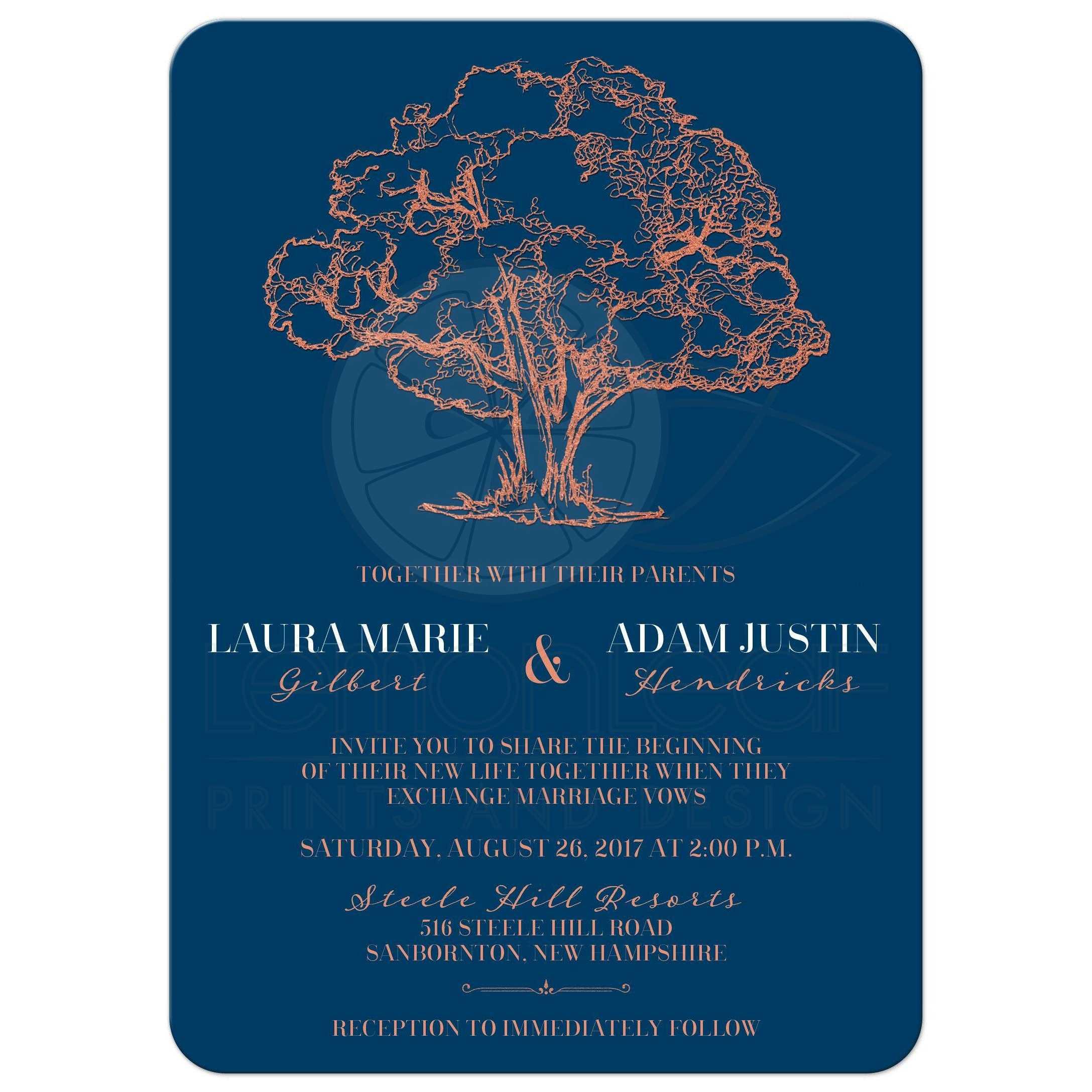 Navy Blue Wedding Invitations Modern: Modern Tree Illustration On Navy Blue Wedding Invitation
