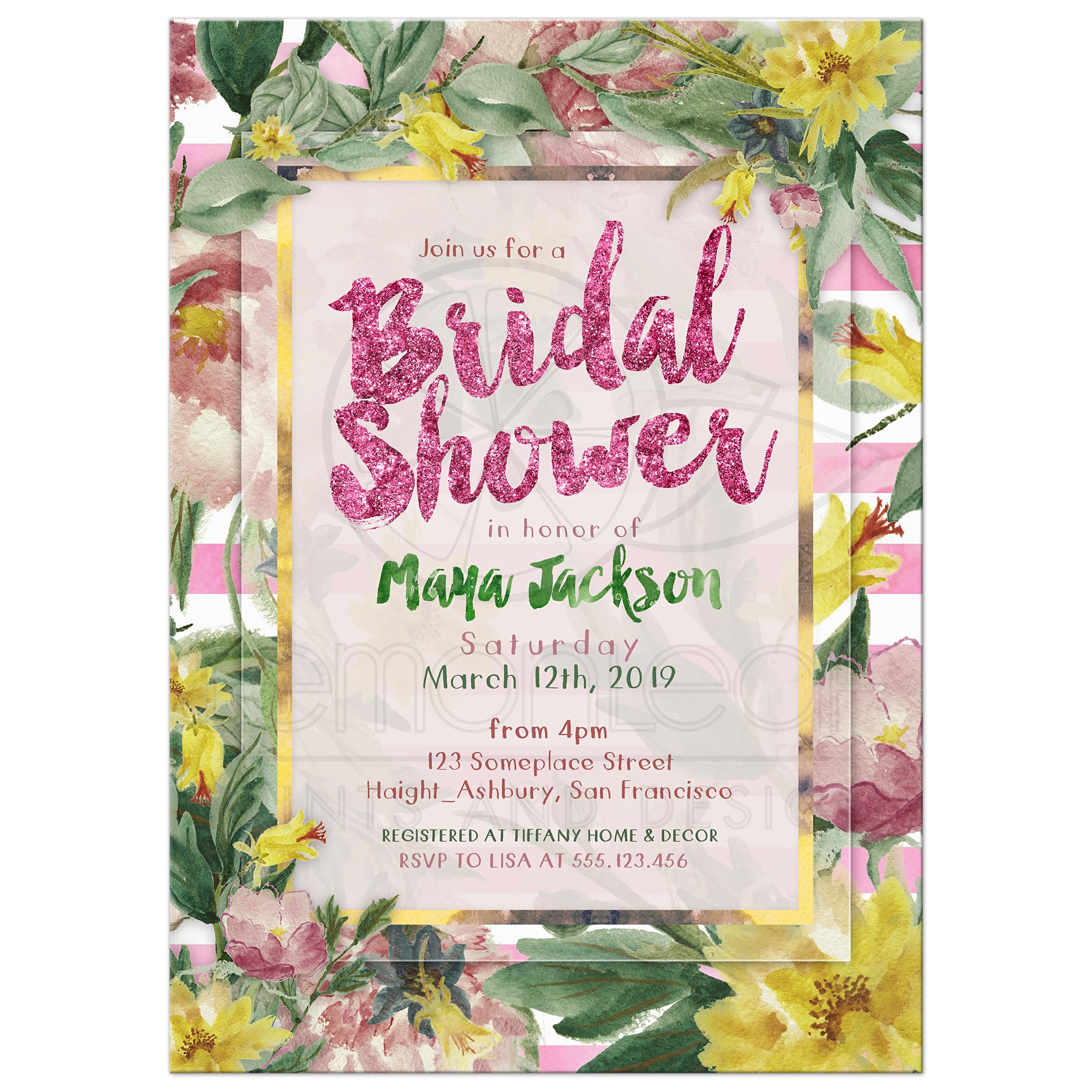nature flowers bridal shower invite