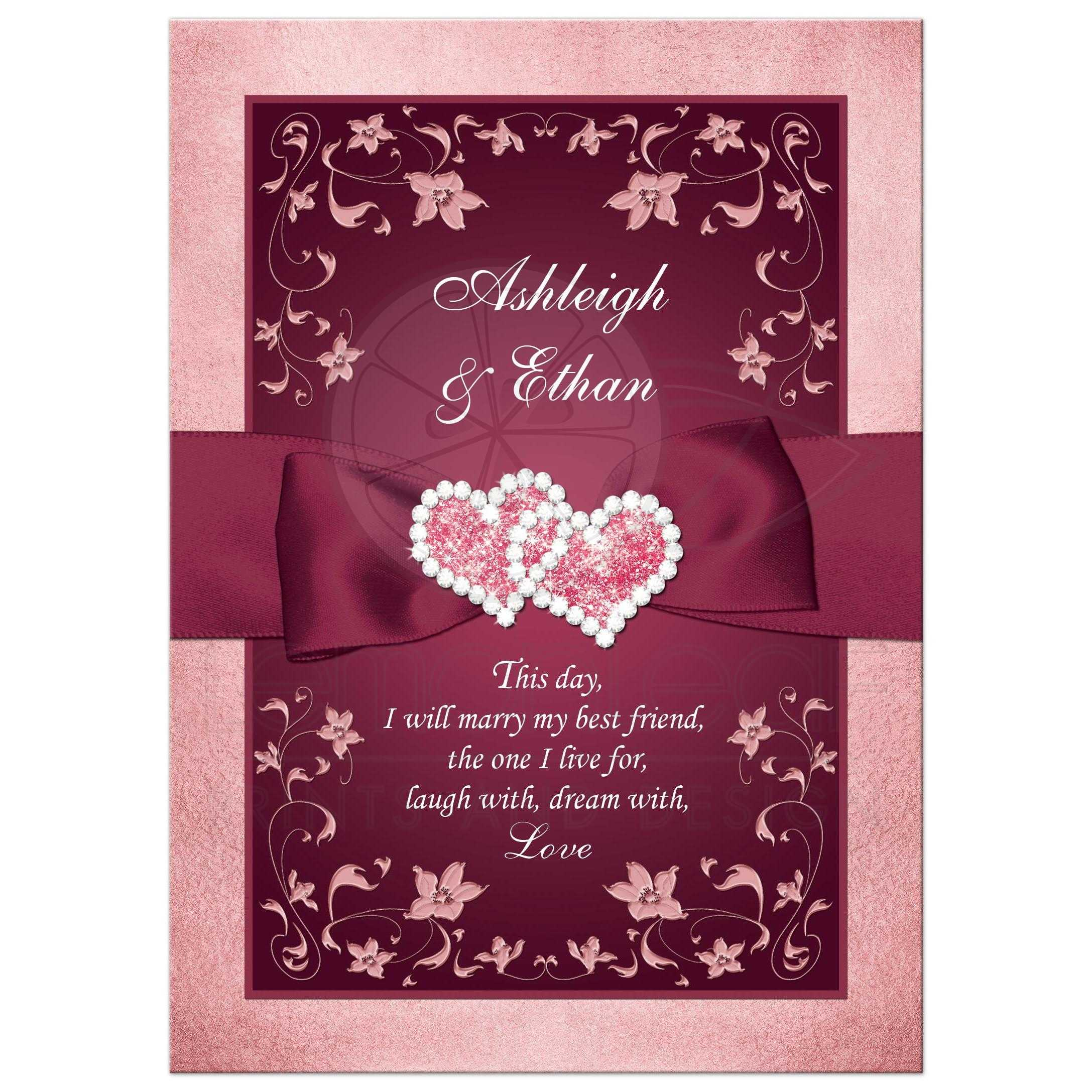 Burgundy Blush Wedding Invitation Printed Ribbon