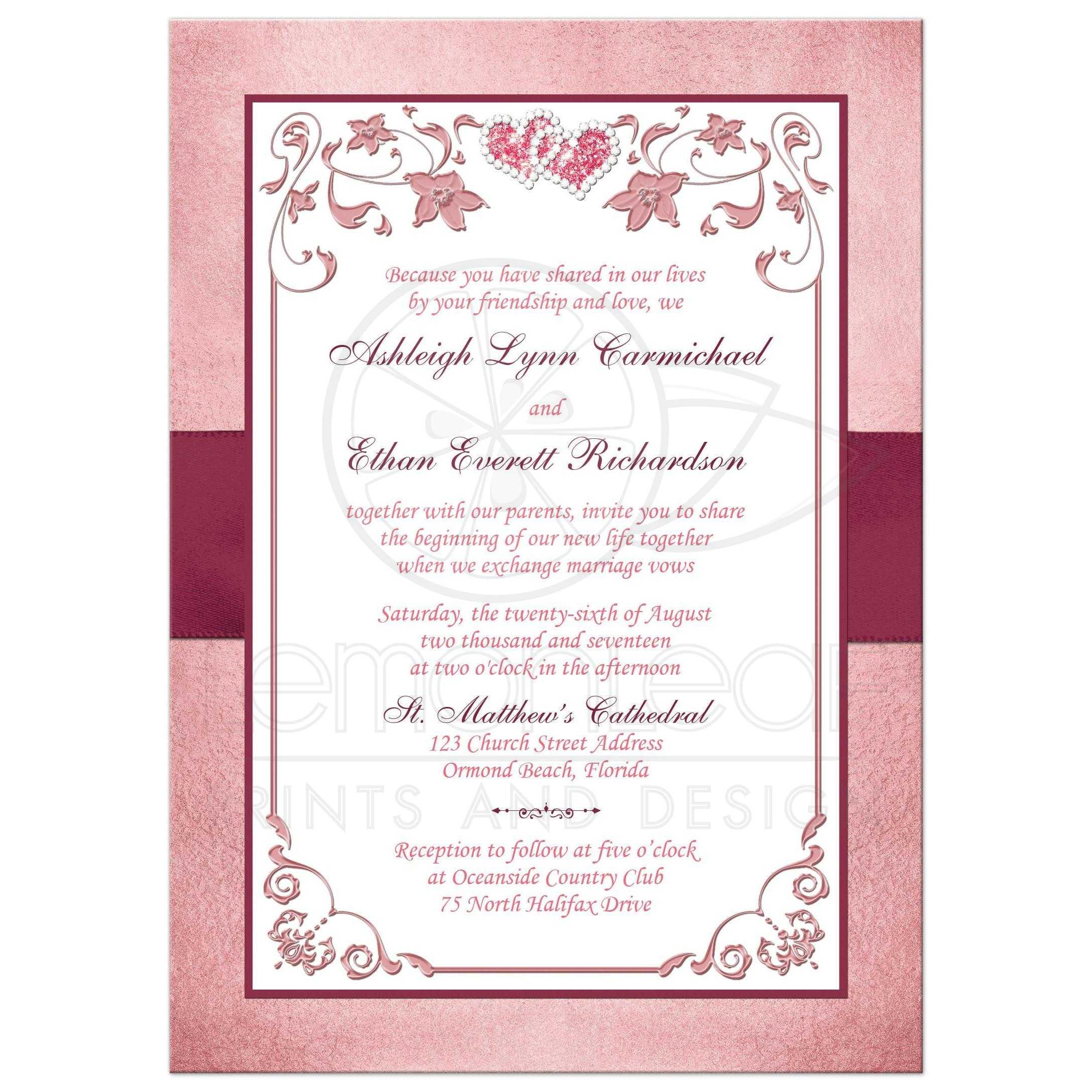 Burgundy, Blush Wedding Invitation | Printed Ribbon, Jewels ...