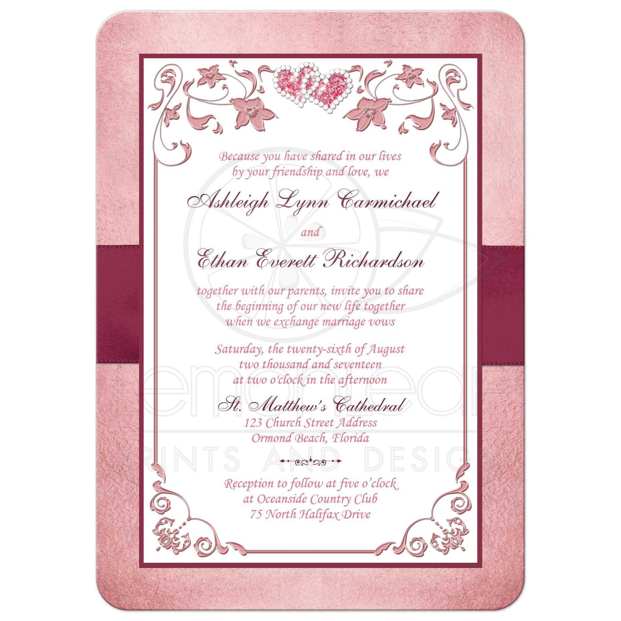 Burgundy, Blush Wedding Invitation | Printed Ribbon, Jewels ...