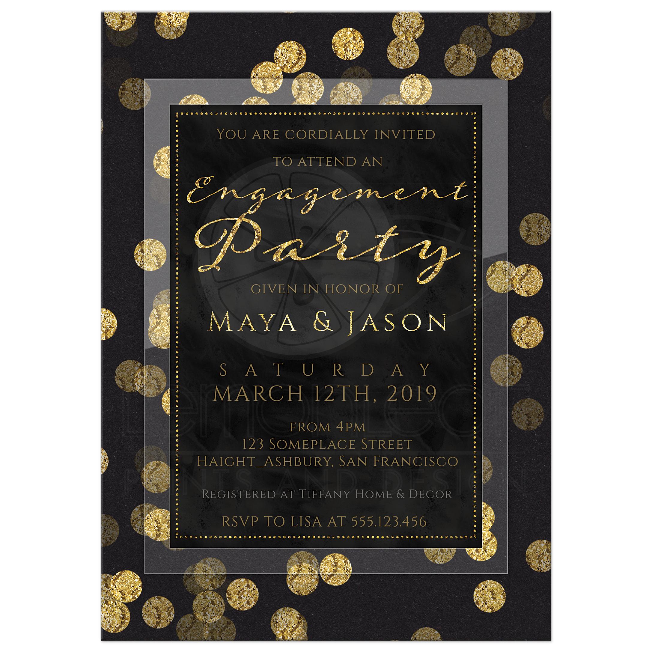 Gold Confetti Engagement Party Invitation