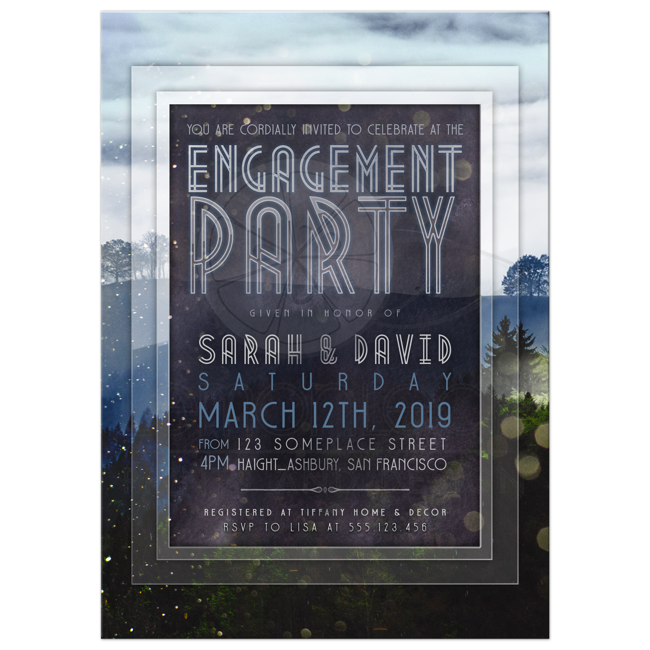 Engagement party invitation outdoors in nature nature outdoors theme engagement party invite stopboris Choice Image