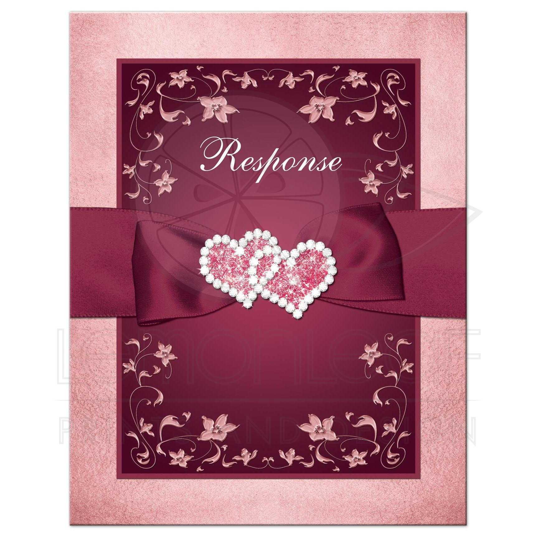 Burgundy, Blush Wedding Response Card   Flowers, Scrolls - Printed ...