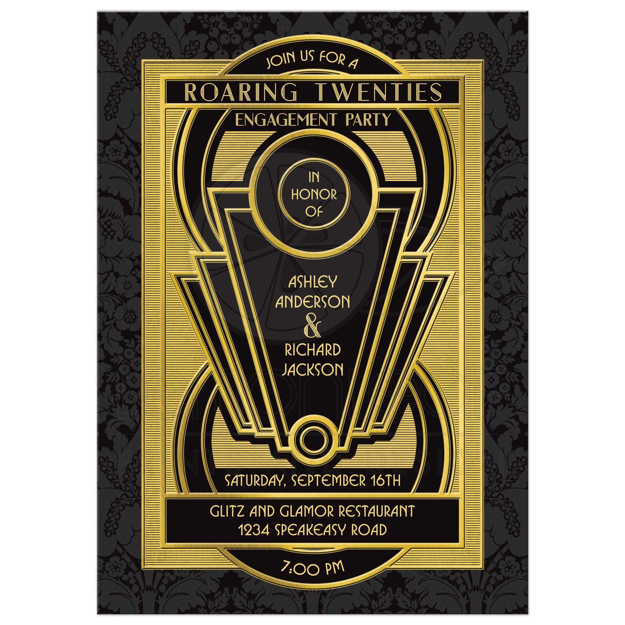 Art Deco Engagement Party Invitation in Gold and Black