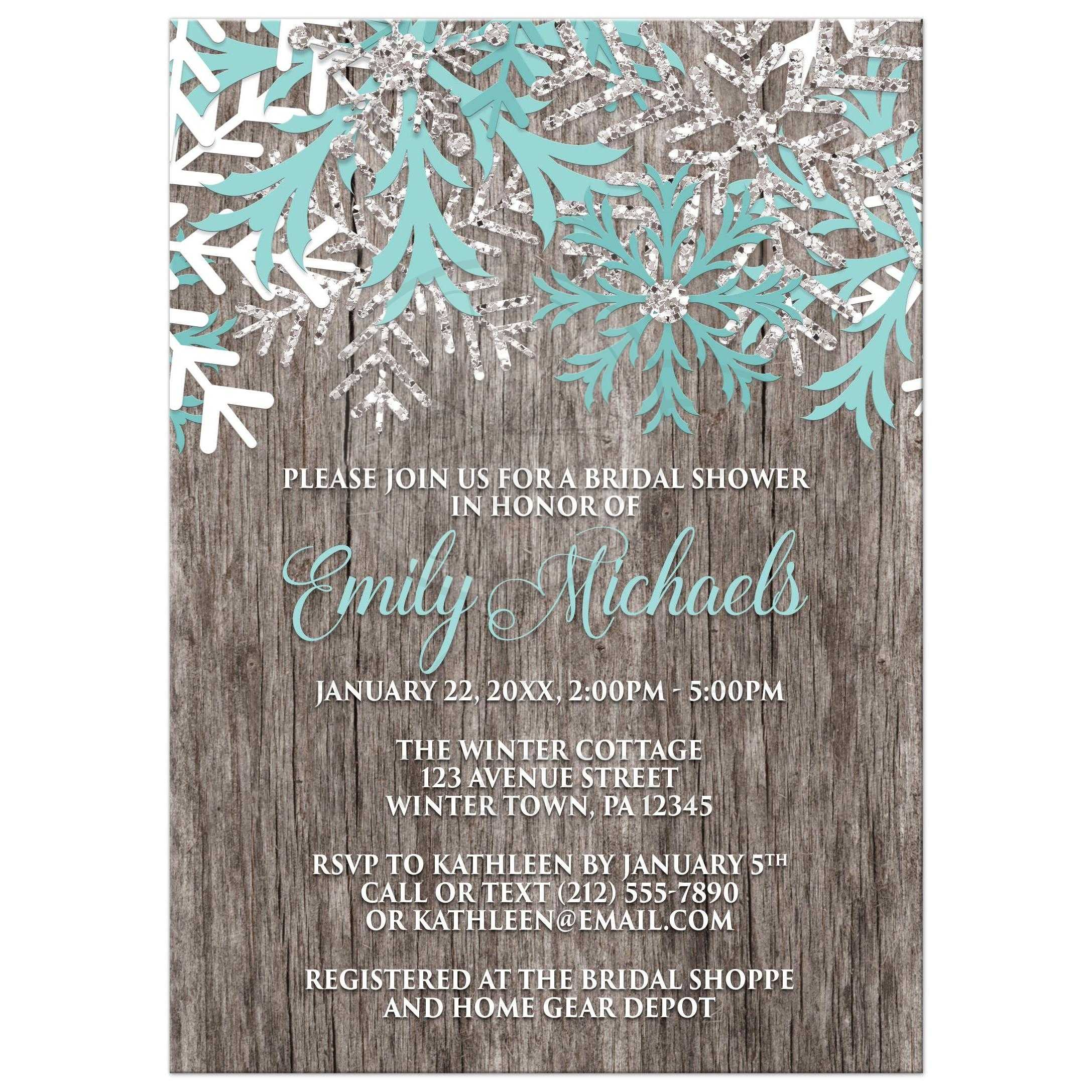 bridal shower invitations teal snowflake rustic winter wood