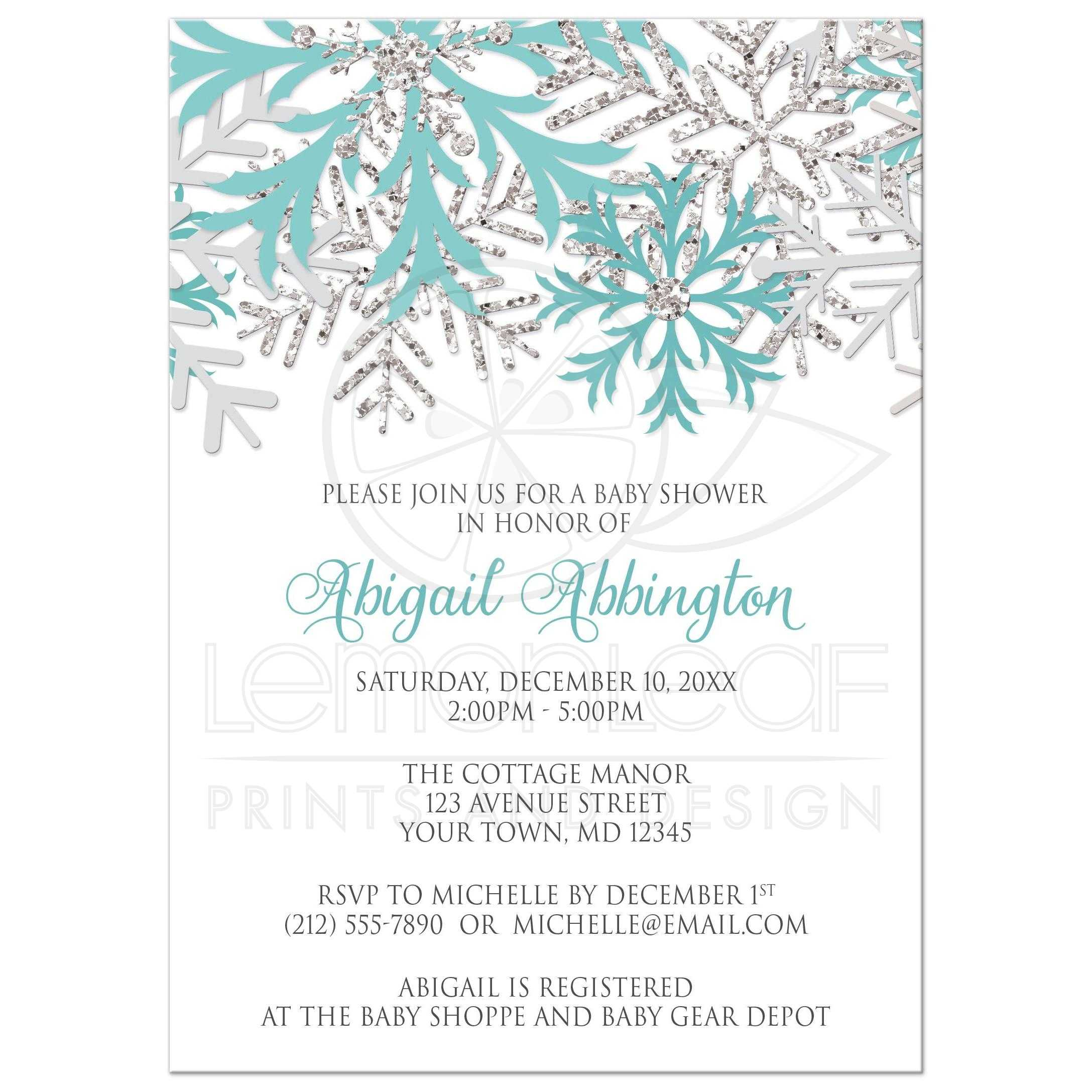 Baby shower invitations winter snowflake teal silver filmwisefo