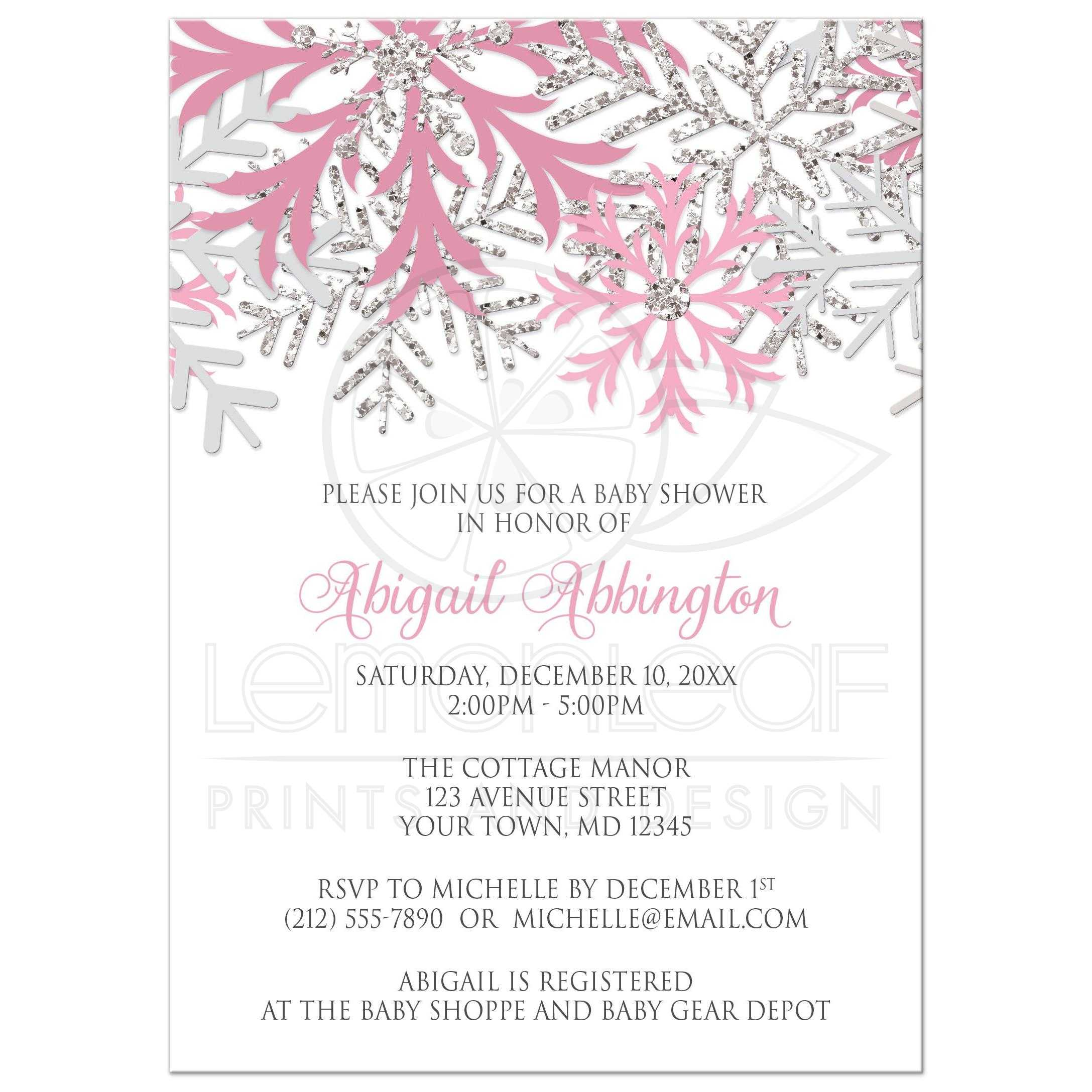 Baby shower invitations winter snowflake pink silver filmwisefo