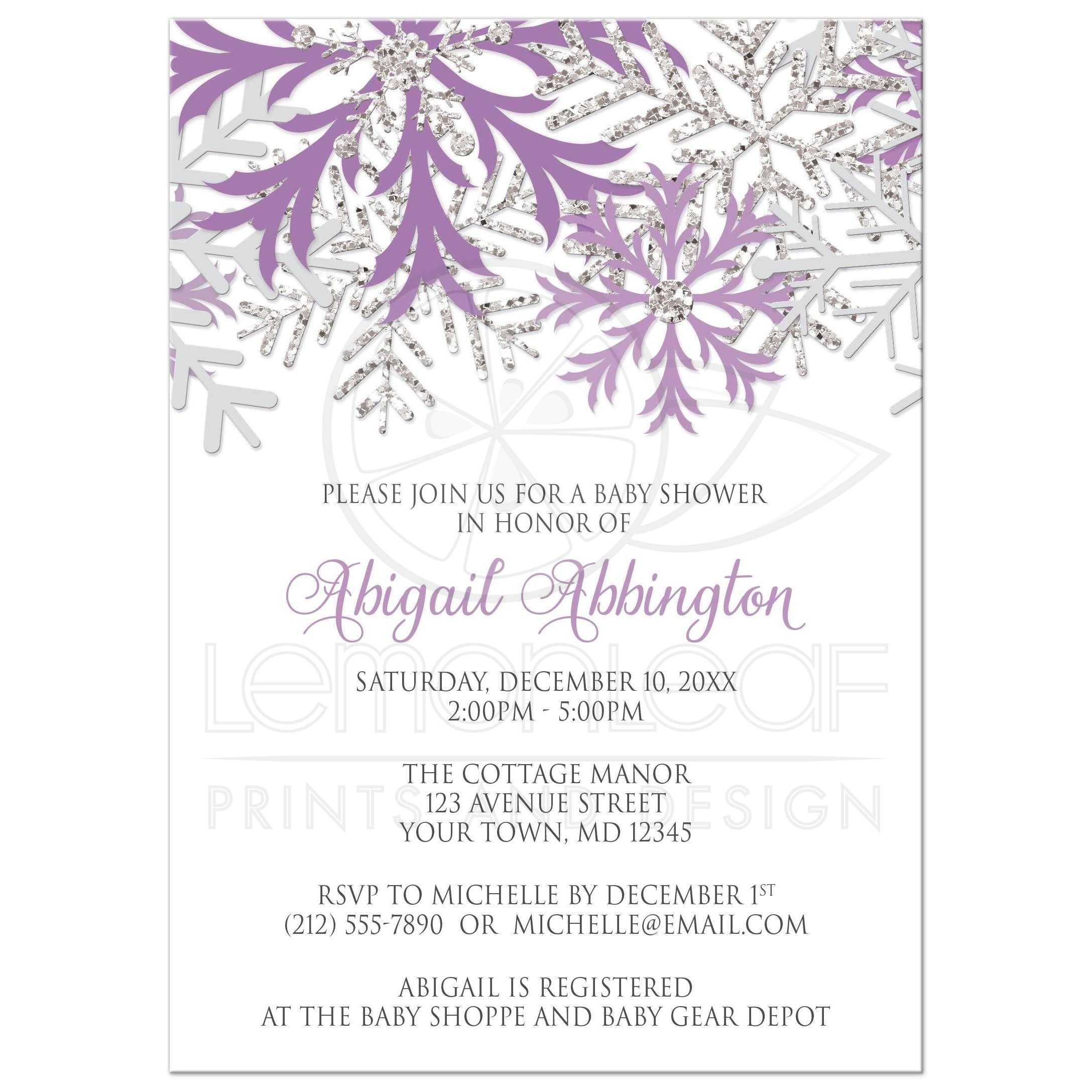 Baby shower invitations winter snowflake purple silver filmwisefo