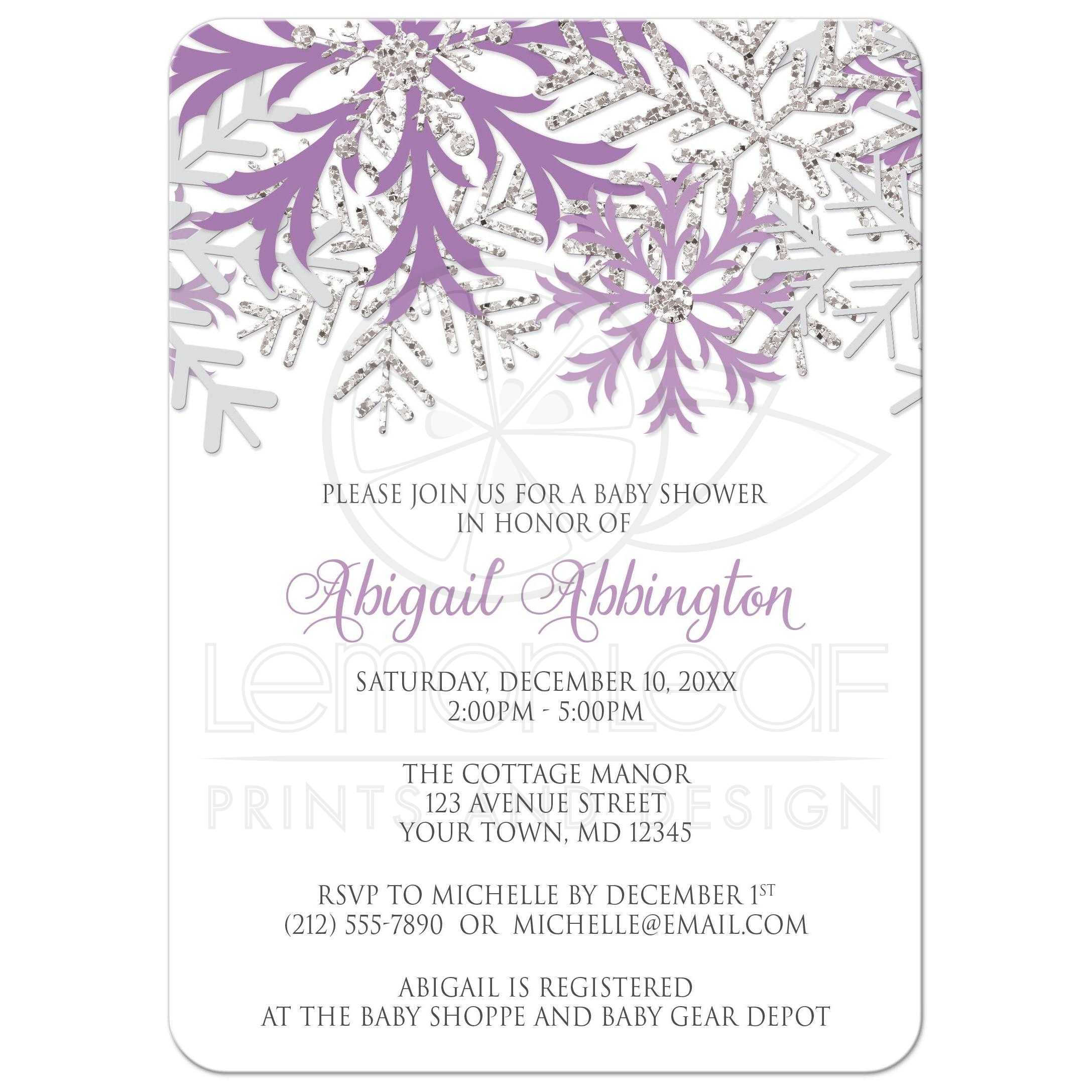 Baby Shower Invitations   Winter Snowflake Purple Silver
