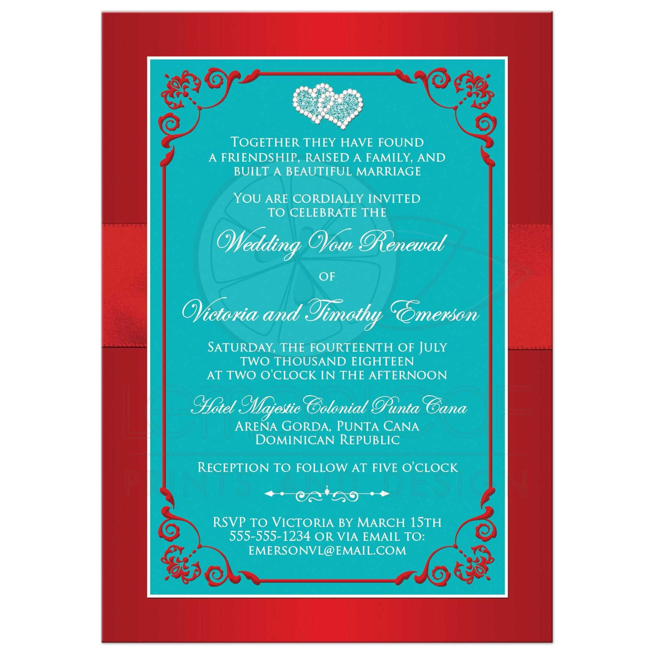 Wedding Vow Renewal Invitation | PRINTED Ribbon/Bow, Joined Jeweled ...