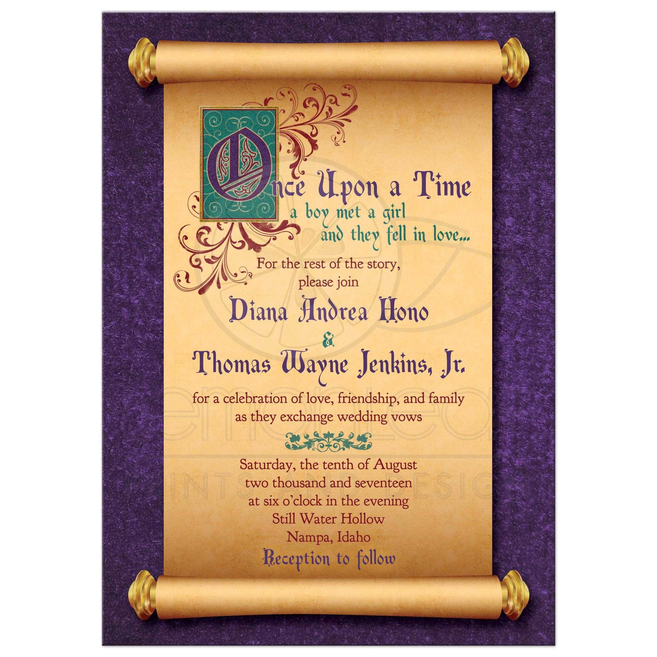 Unique Illuminated Text And Medieval Scroll Fairytale Once Upon A Time Wedding  Invitation Front ...