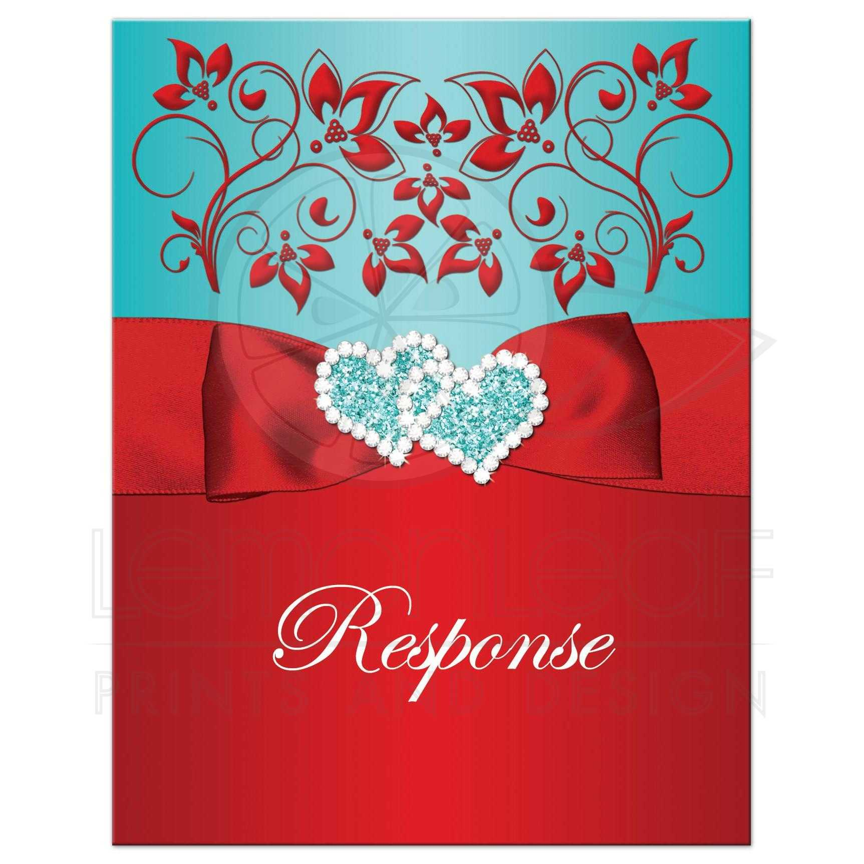 Response Card | Red, Aqua Blue Floral - PRINTED Ribbon/Bow, Joined ...
