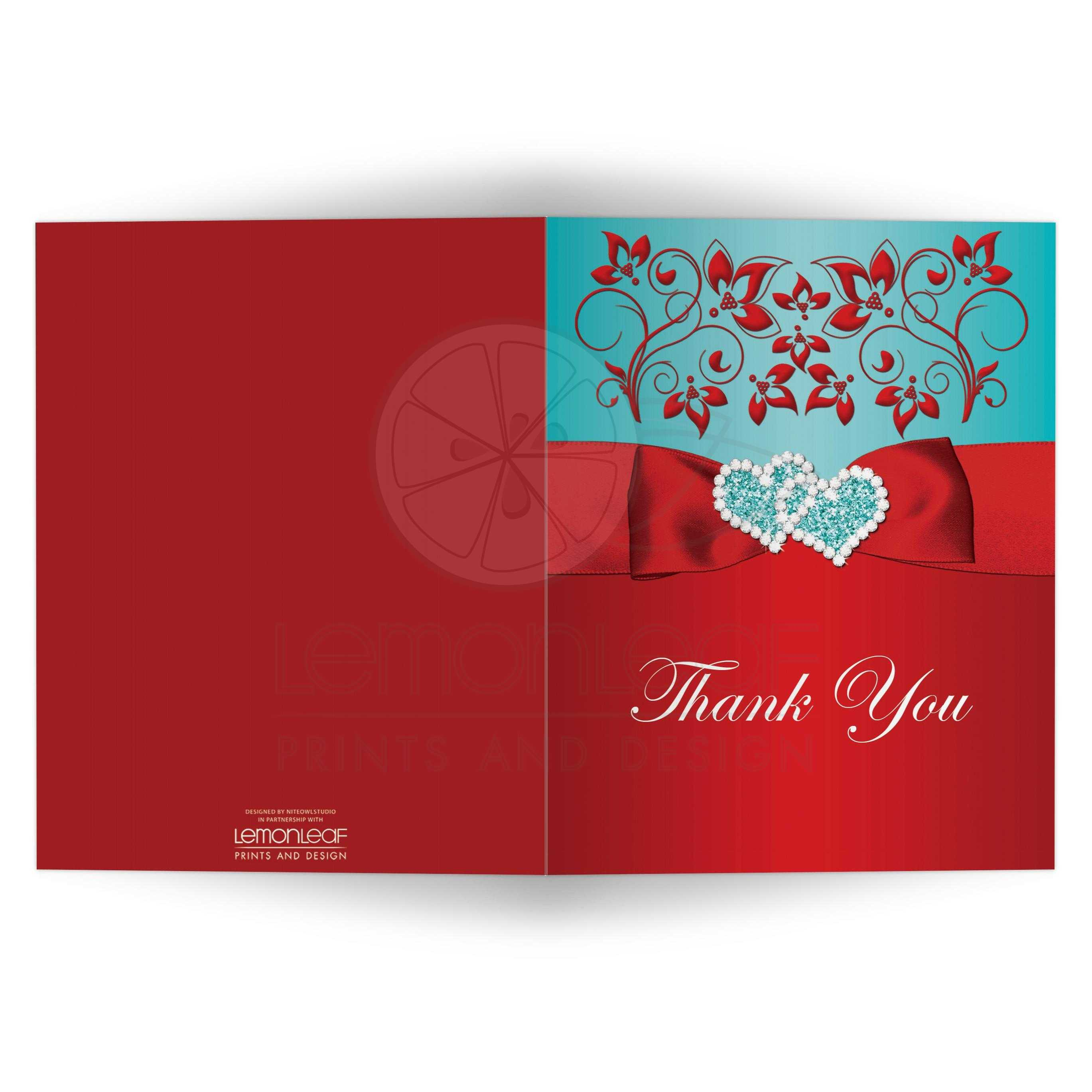 PHOTO Optional Thank You Card | Joined Jeweled Hearts, PRINTED ...