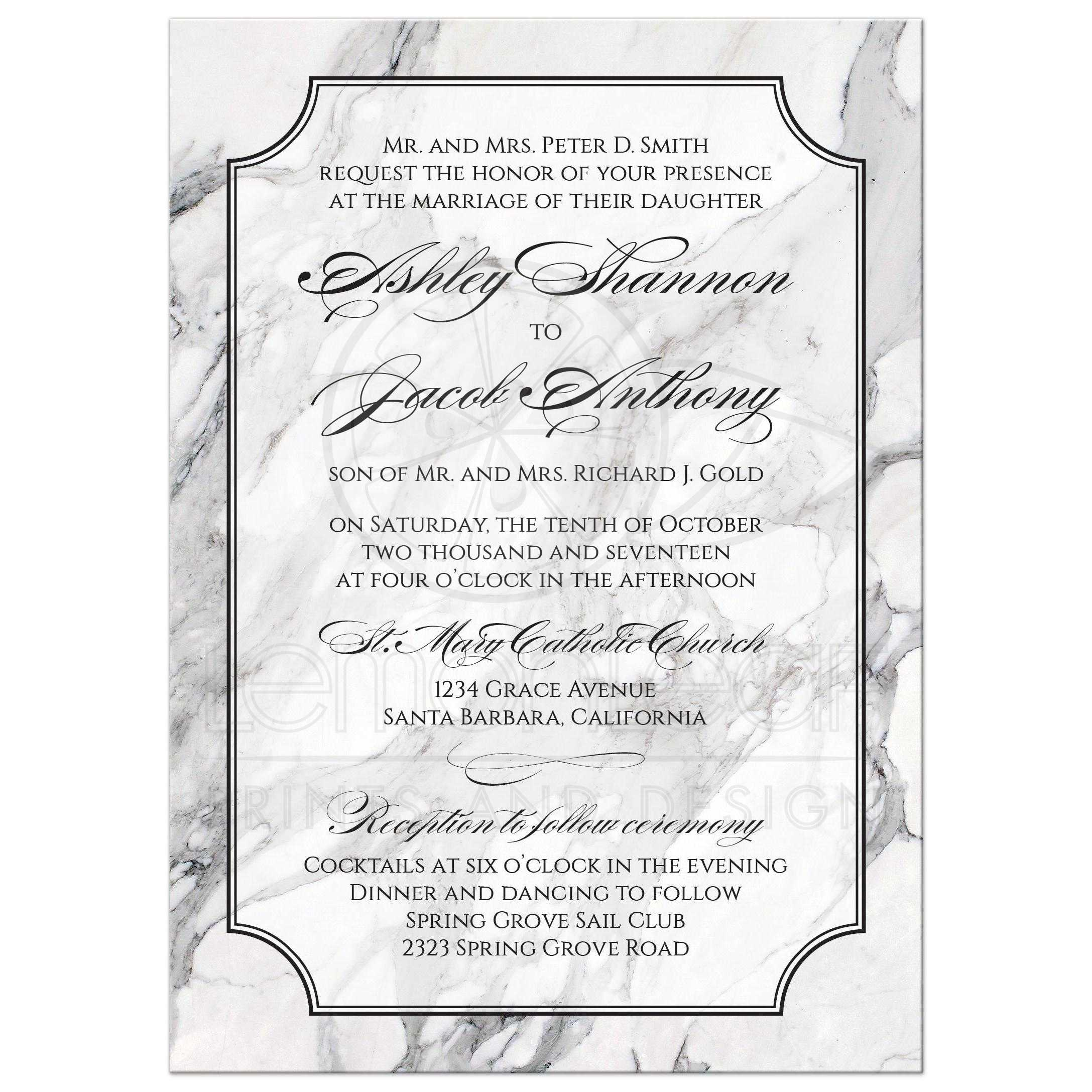 Marble Wedding Invitation Traditional Calligraphy Black and White