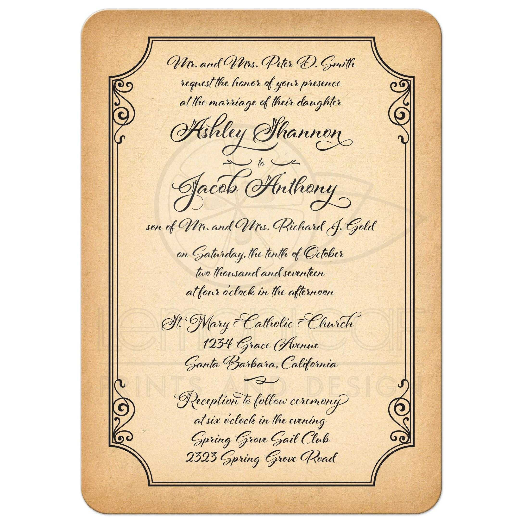 Old World Calligraphy Wedding Invitation Aged Parchment Look