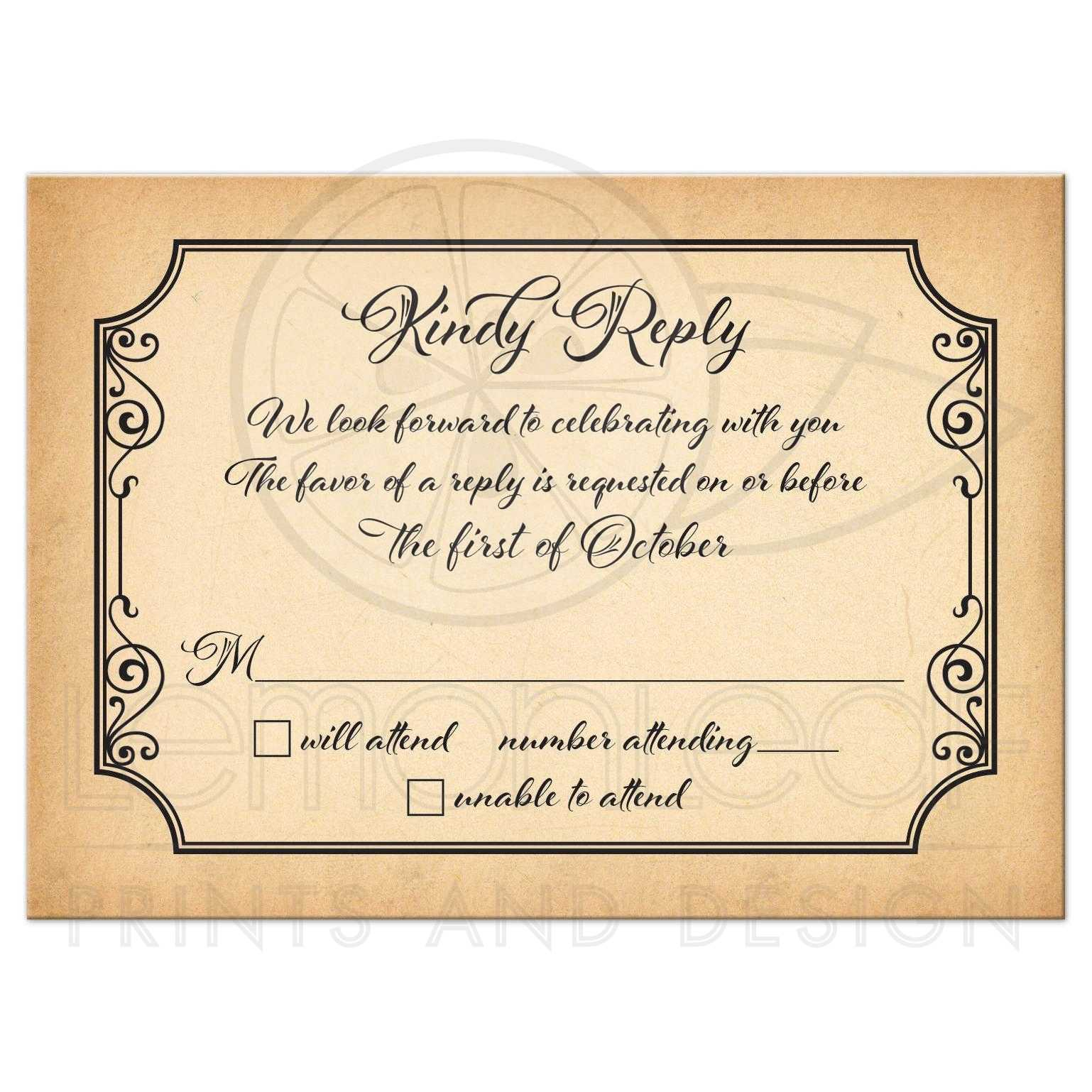 Old world calligraphy wedding rsvp card aged parchment look