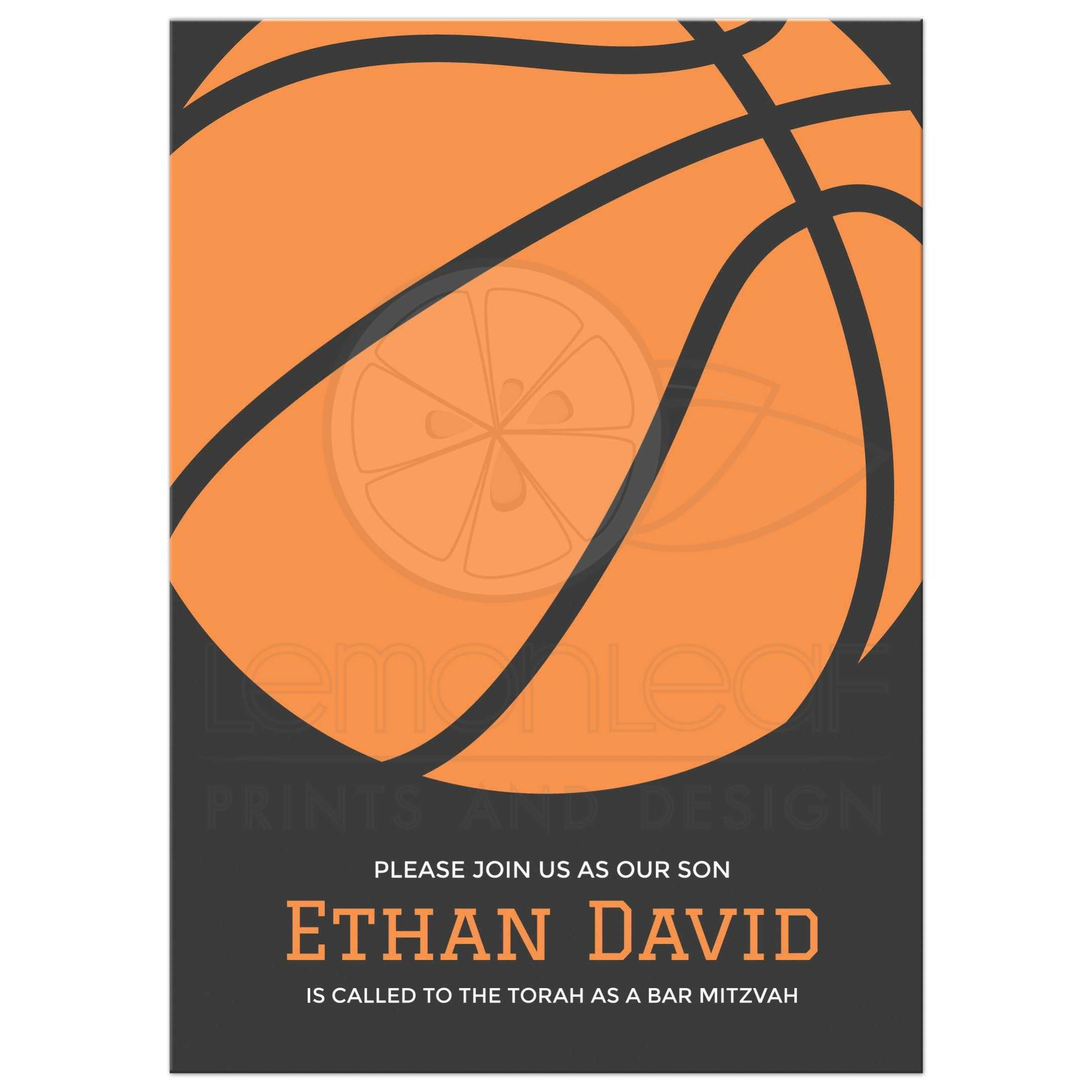 basketball bar mitzvah invitation minimal and modern design in