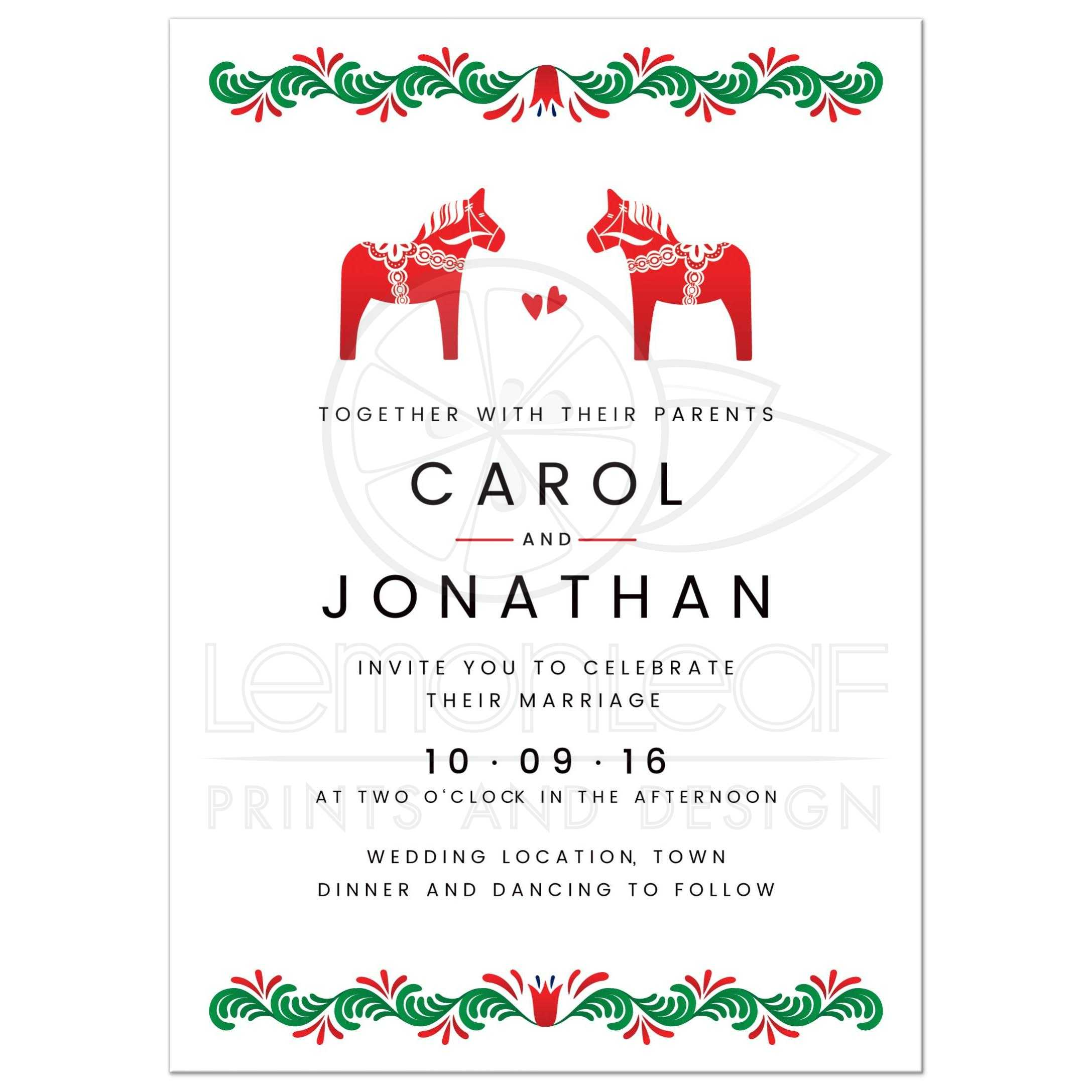 Dala horse wedding invitation Scandinavian folk art Green and red