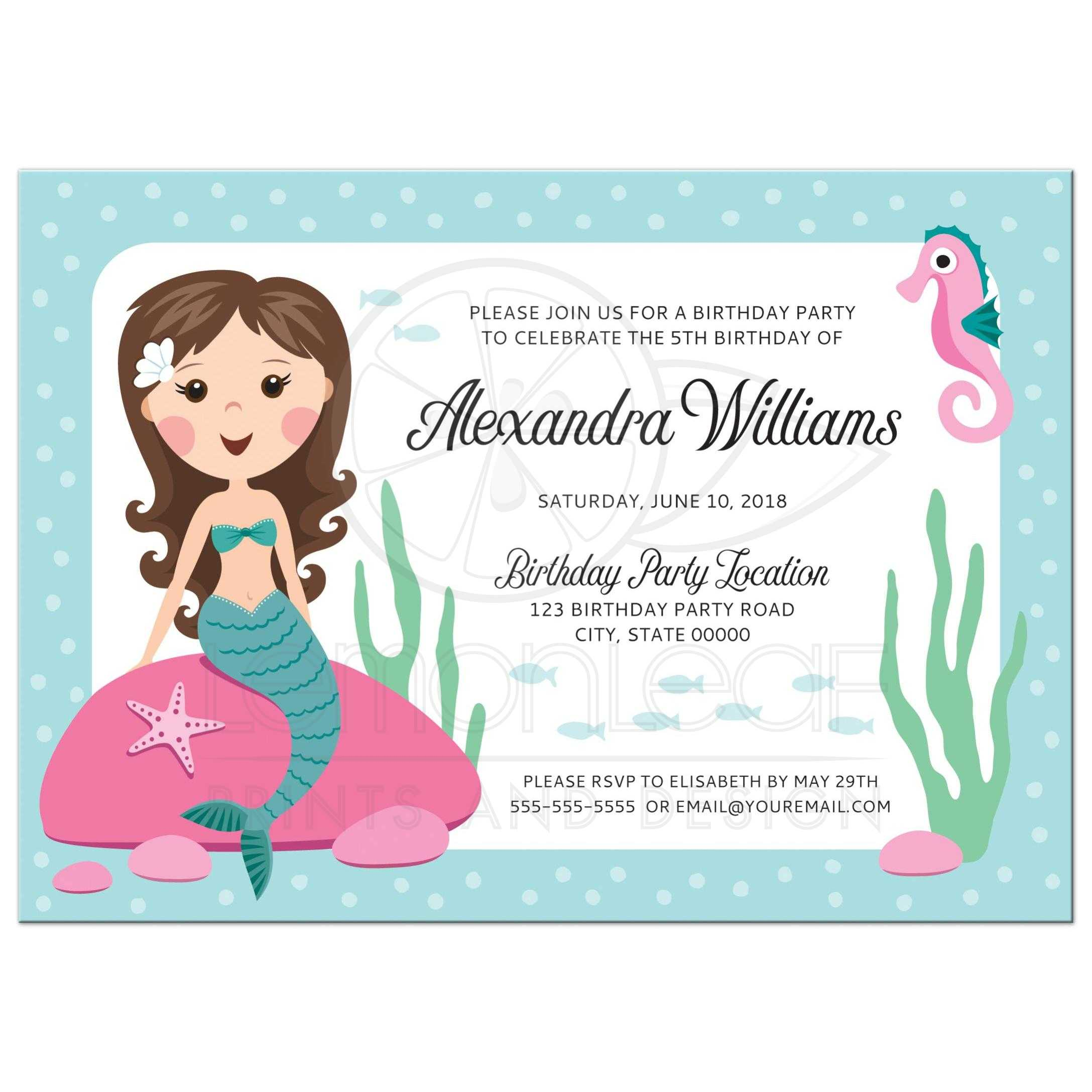 Mermaid birthday party invitation for kids with cute girl sitting on ...