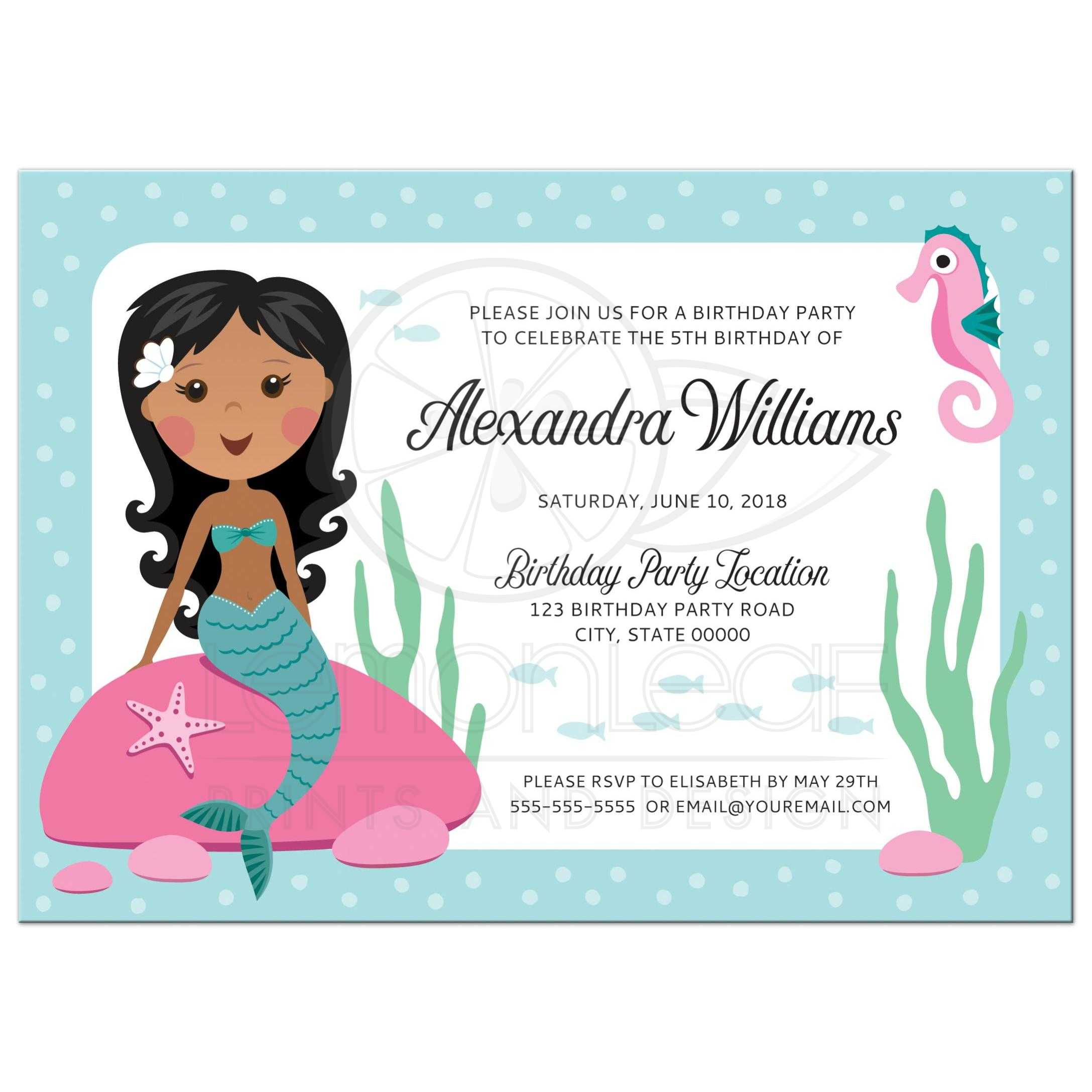 Mermaid birthday party invitation for kids with african american or ...