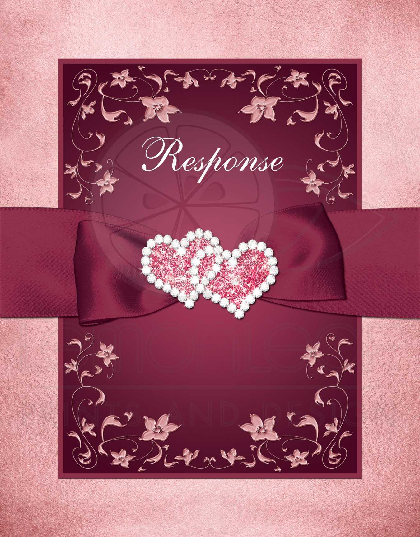 Burgundy, Blush Wedding Response Card | Flowers, Scrolls - Printed ...