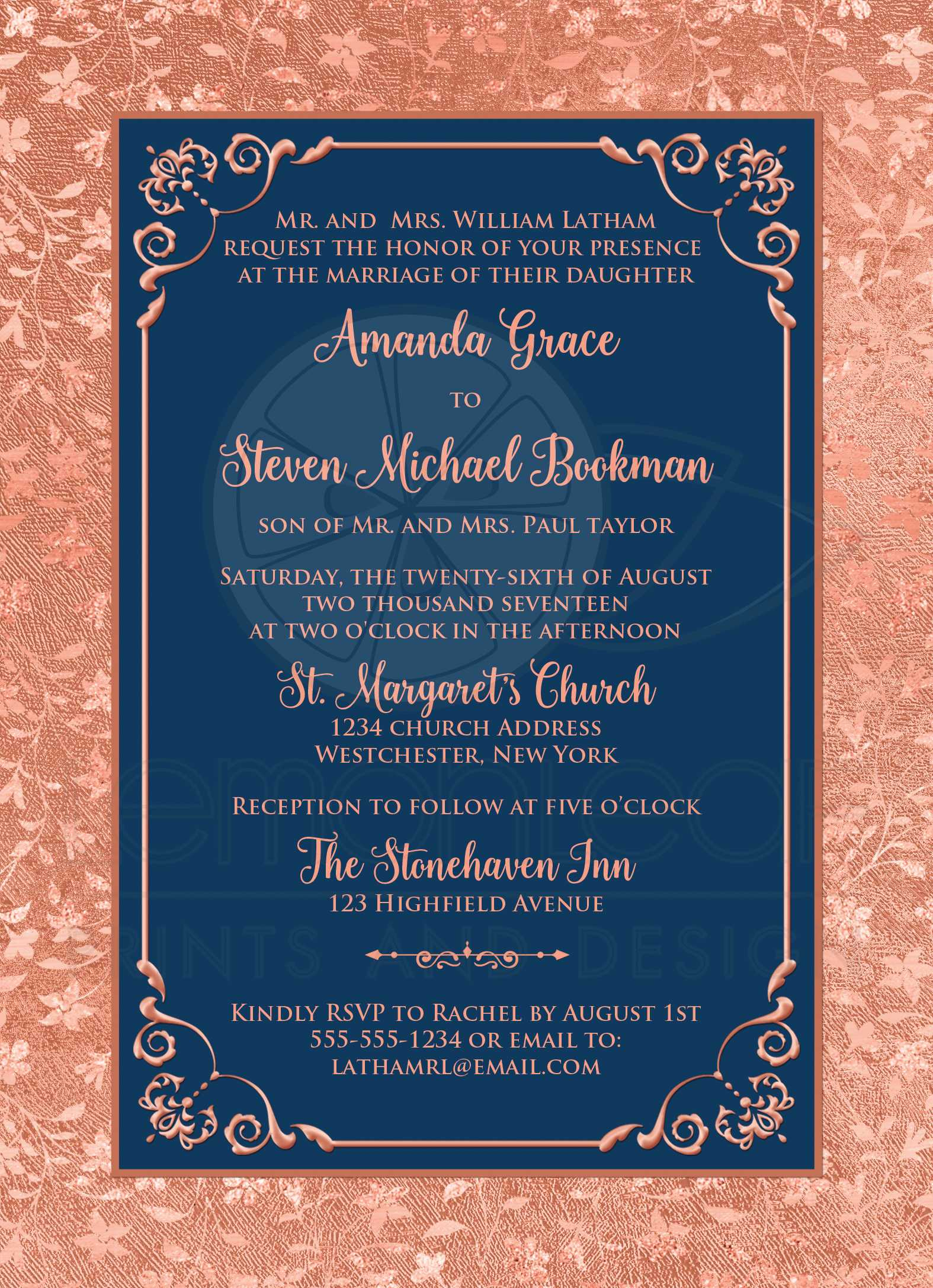 Mr /& Mrs Card With Copper Foiling