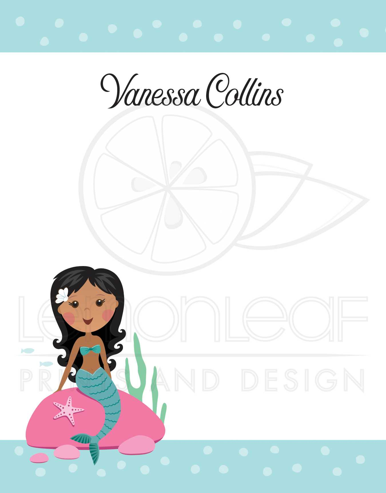 Mermaid Note Cards With Personalized Name African American Or Asian