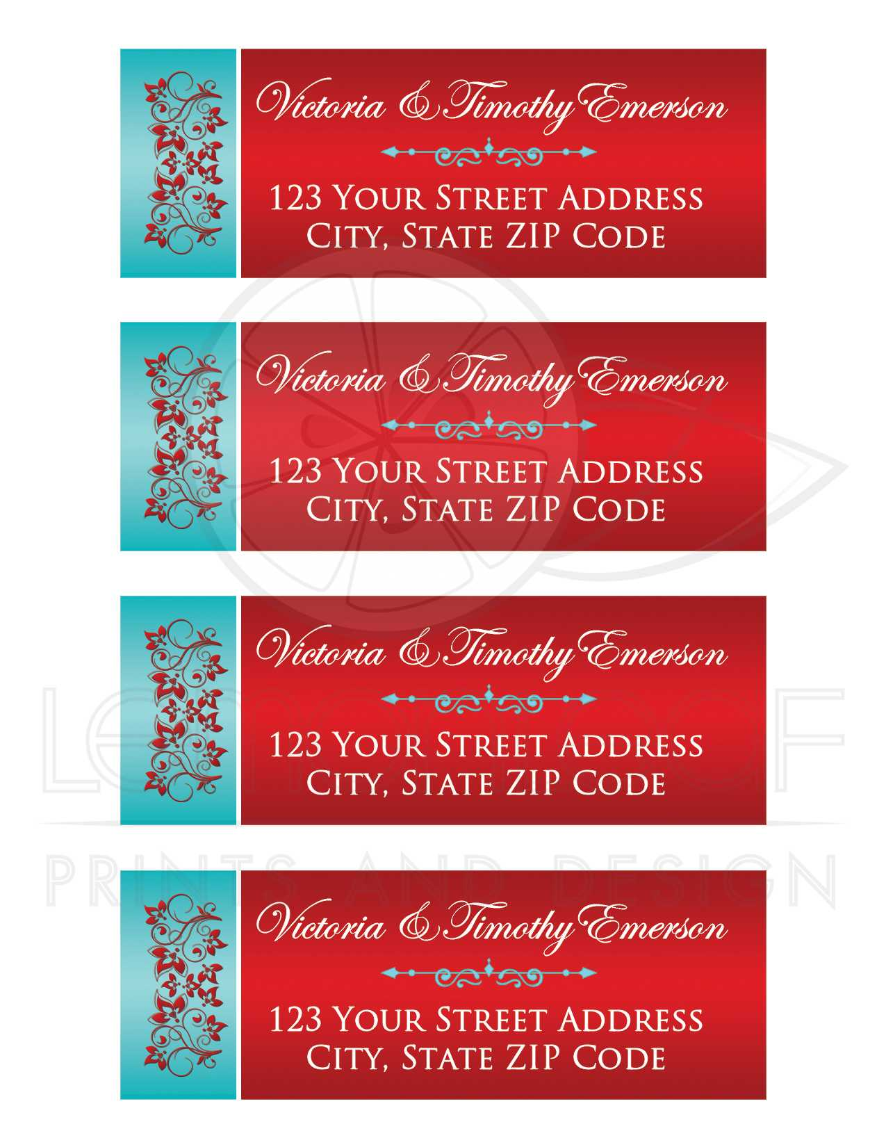Customizable Red, Aqua Floral Address Labels with Ornate Scroll