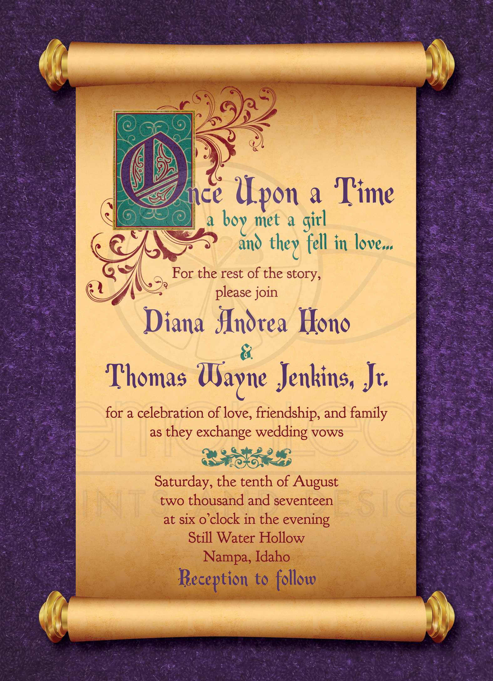 fairytale wedding invitation medieval scroll once upon a time - Medieval Wedding Invitations