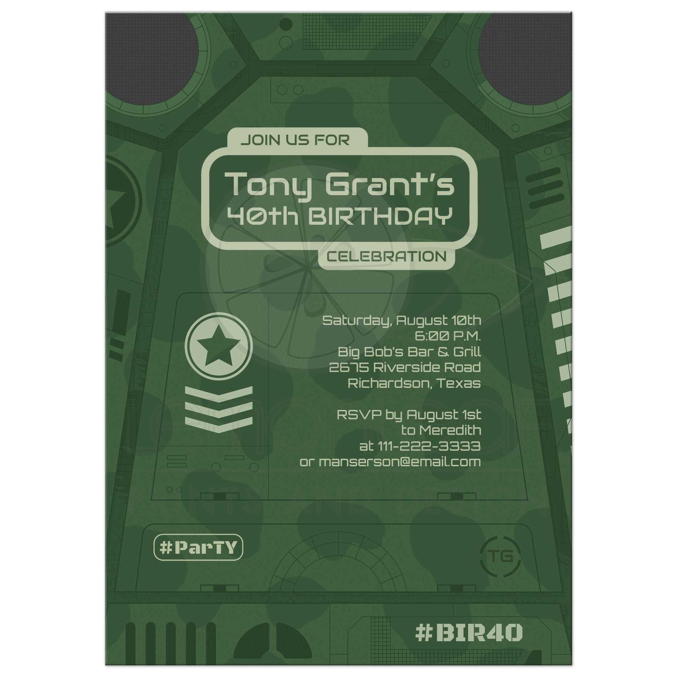 Military Army Camo Birthday Invitation Green Scifi