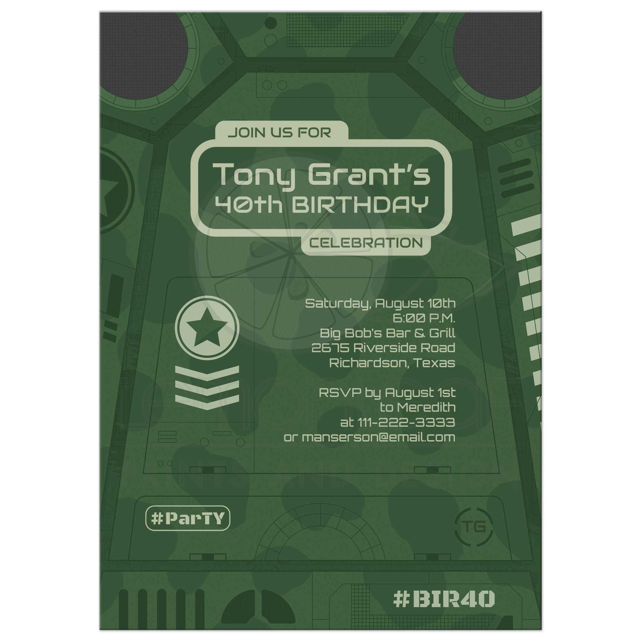 Green Camo Military Or Army Vehicle Birthday Party Invitation