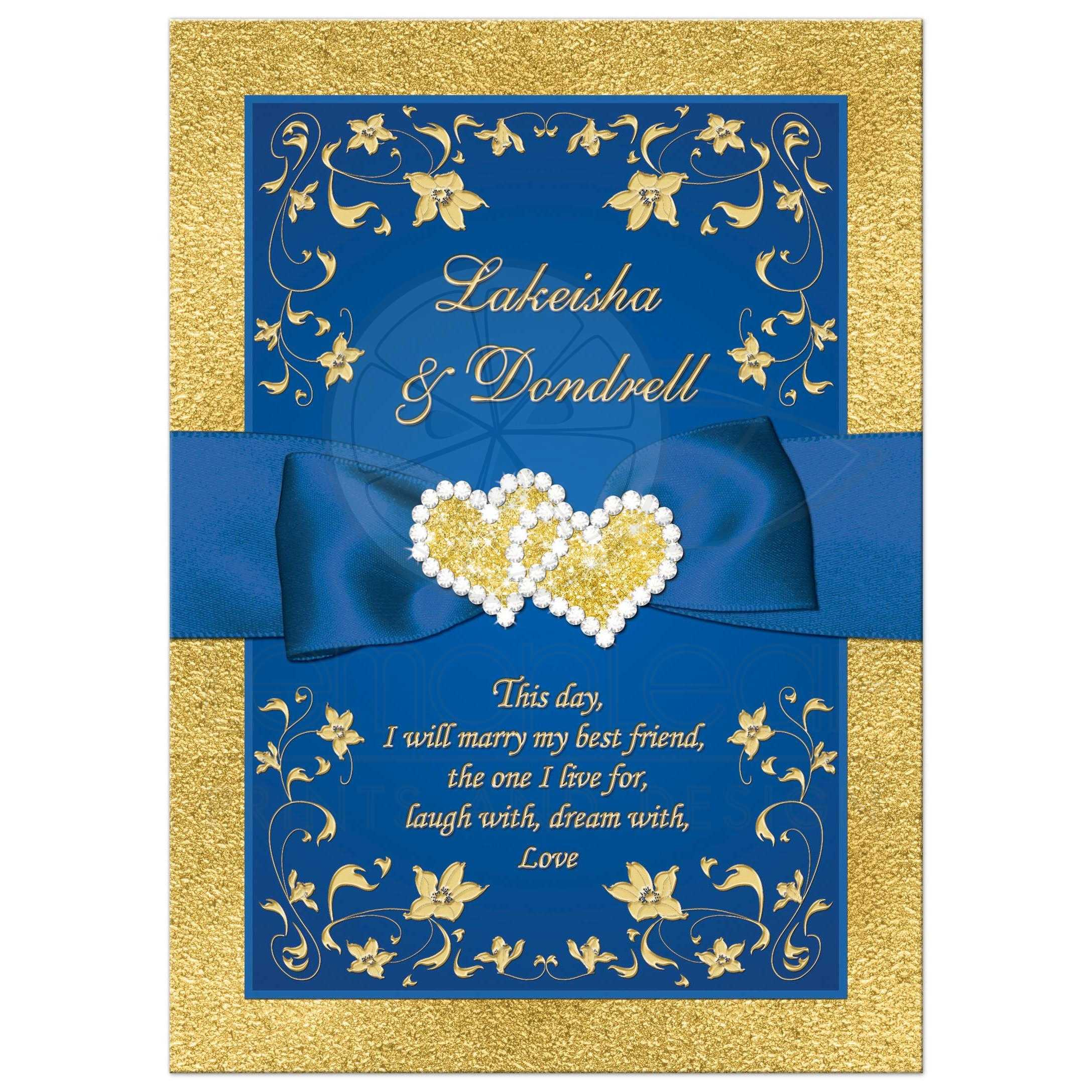 Rroyal Blue And Gold Foil Fl Wedding Invitation With Joined Jewel Hearts Ribbon