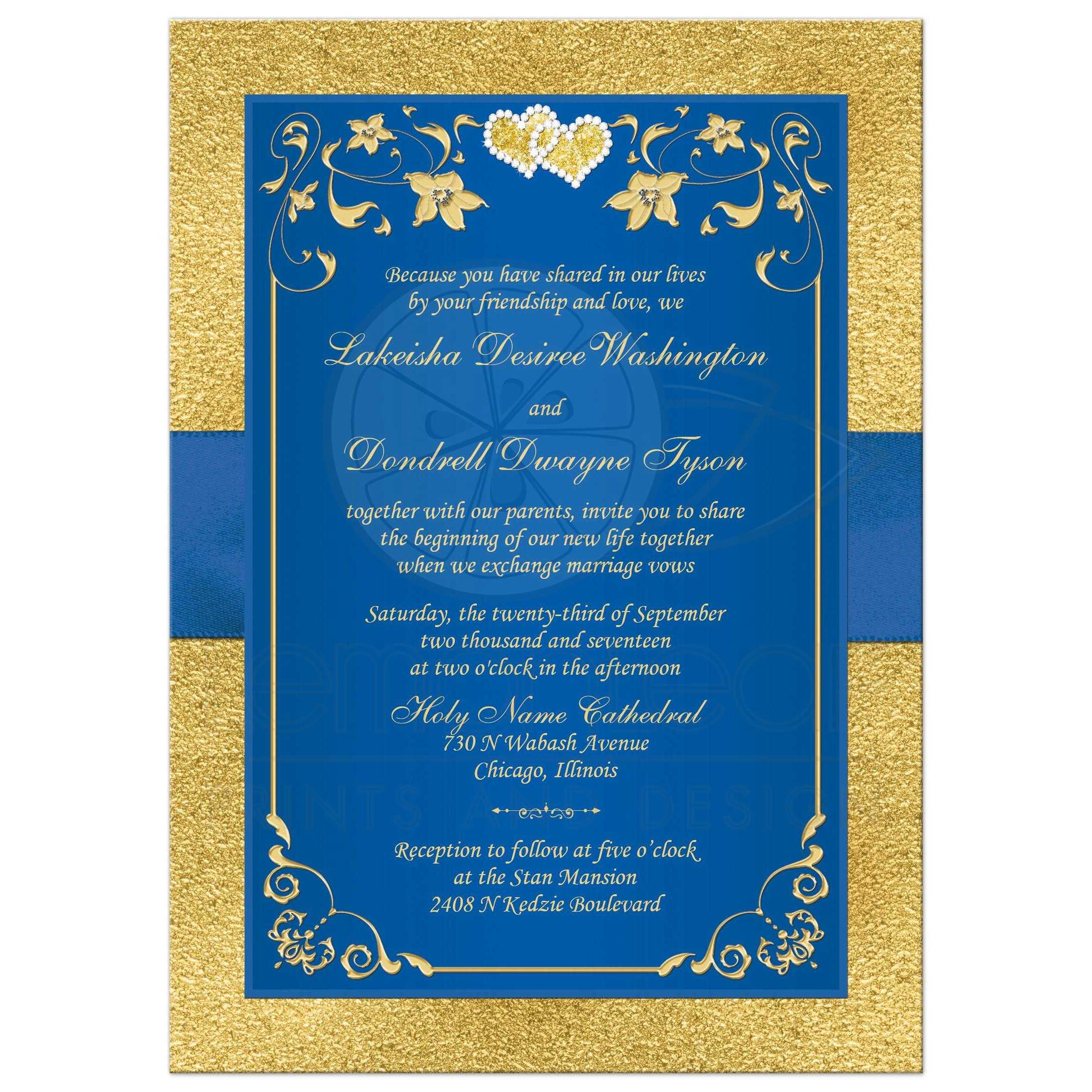 Wedding Invitation Royal Blue Faux Gold Foil Floral Printed