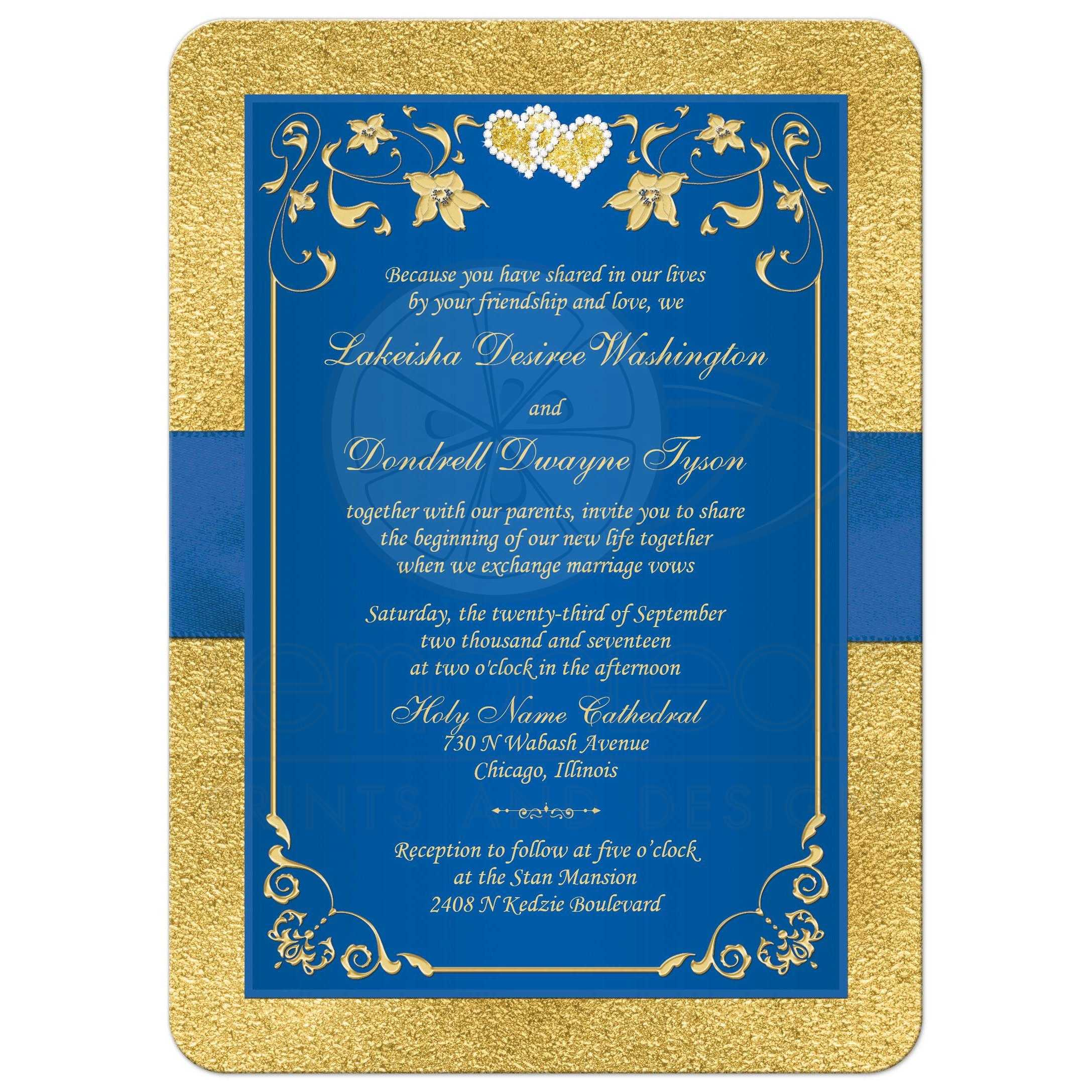 royal blue and gold foil and floral wedding invitation with joined jewel hearts and ribbon - Blue And Gold Wedding Invitations