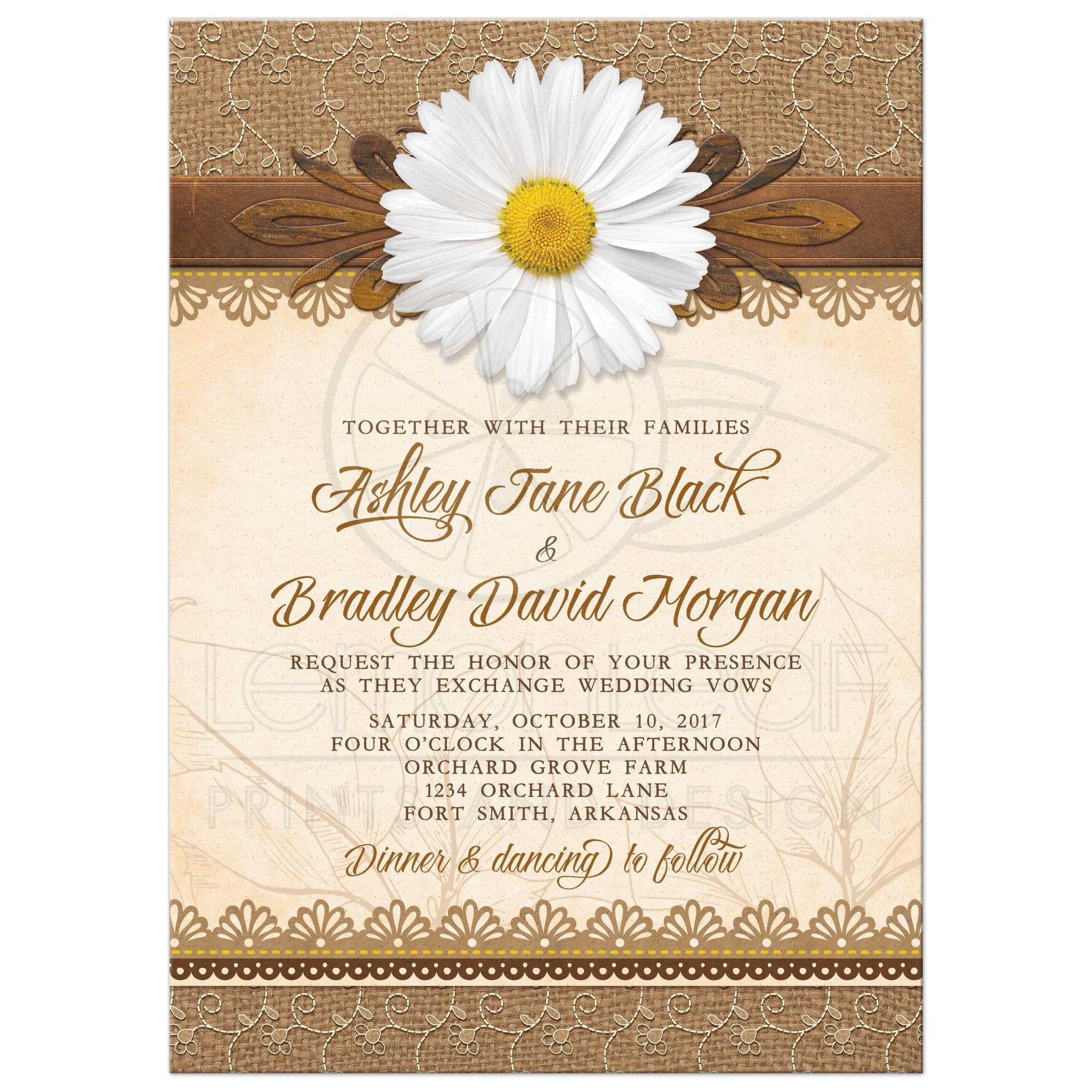 Rustic Daisy Wedding Invitations: Rustic Daisy Wedding Invitation Burlap Lace Wood